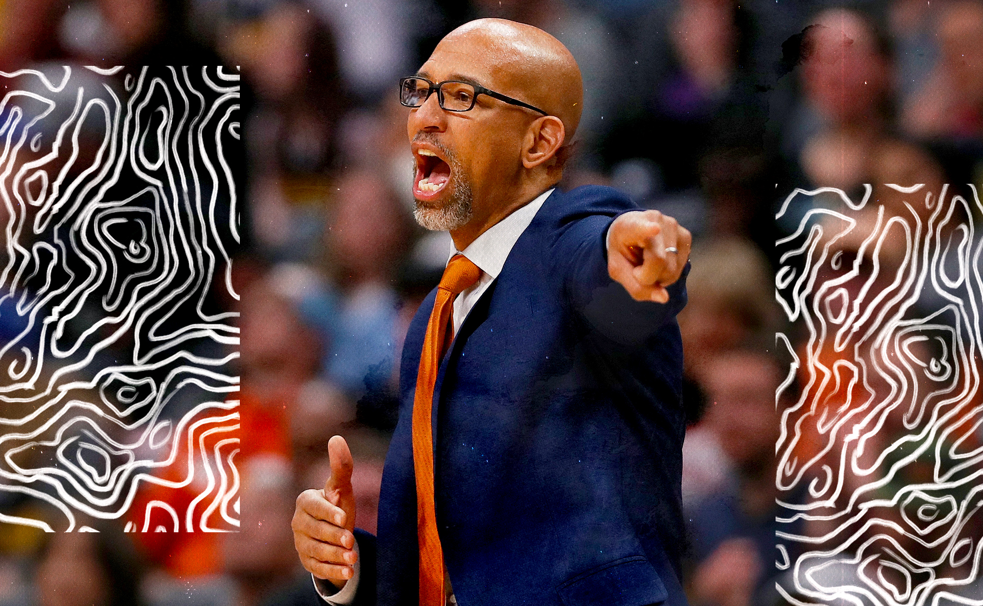 Monty Williams shouts out a play to the Suns.