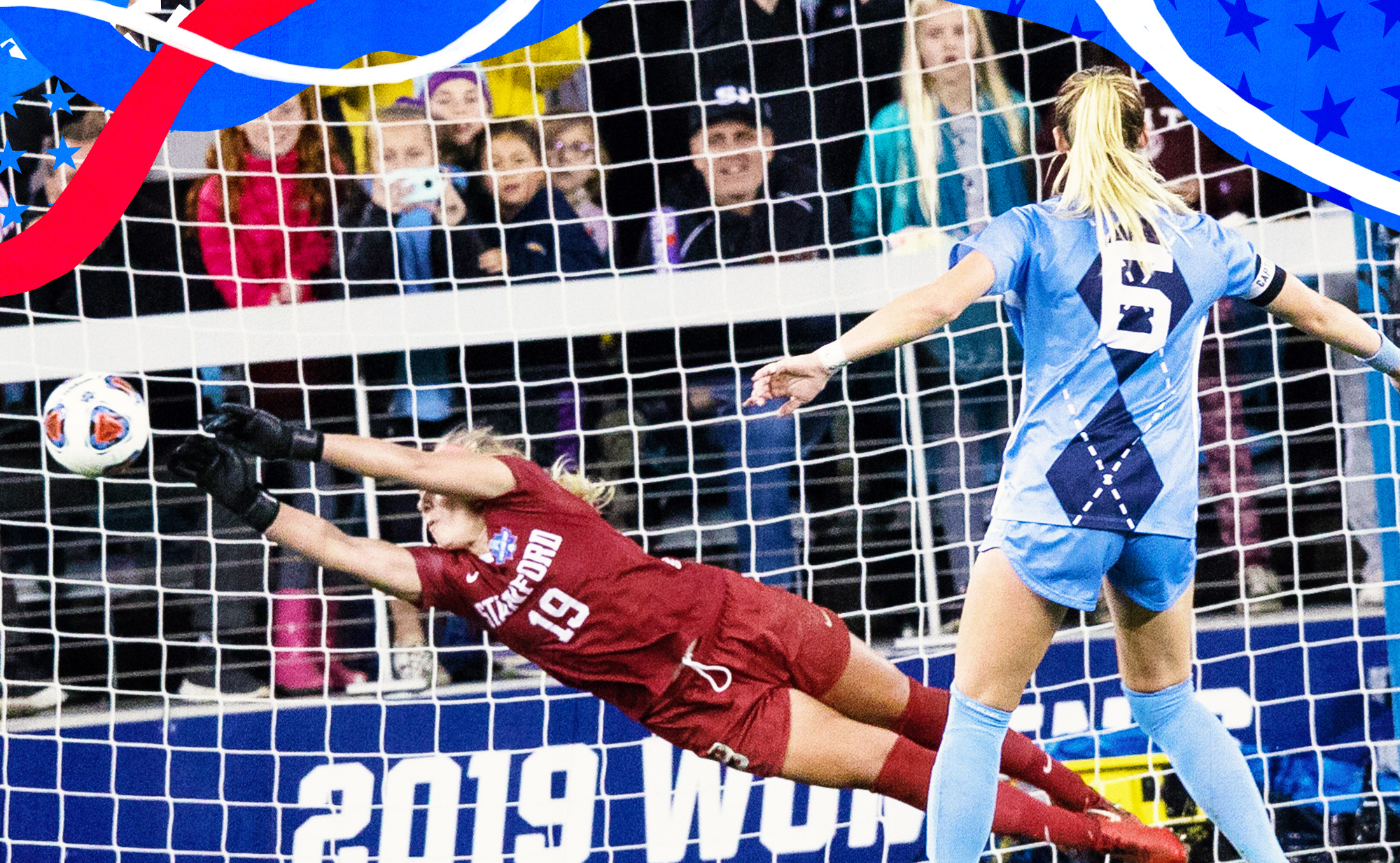 Katie Meyer makes a save during Stanford's penalty shootout win against North Carolina