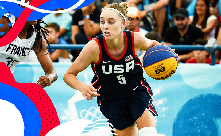 Paige Bueckers dribbles for USA Basketball.