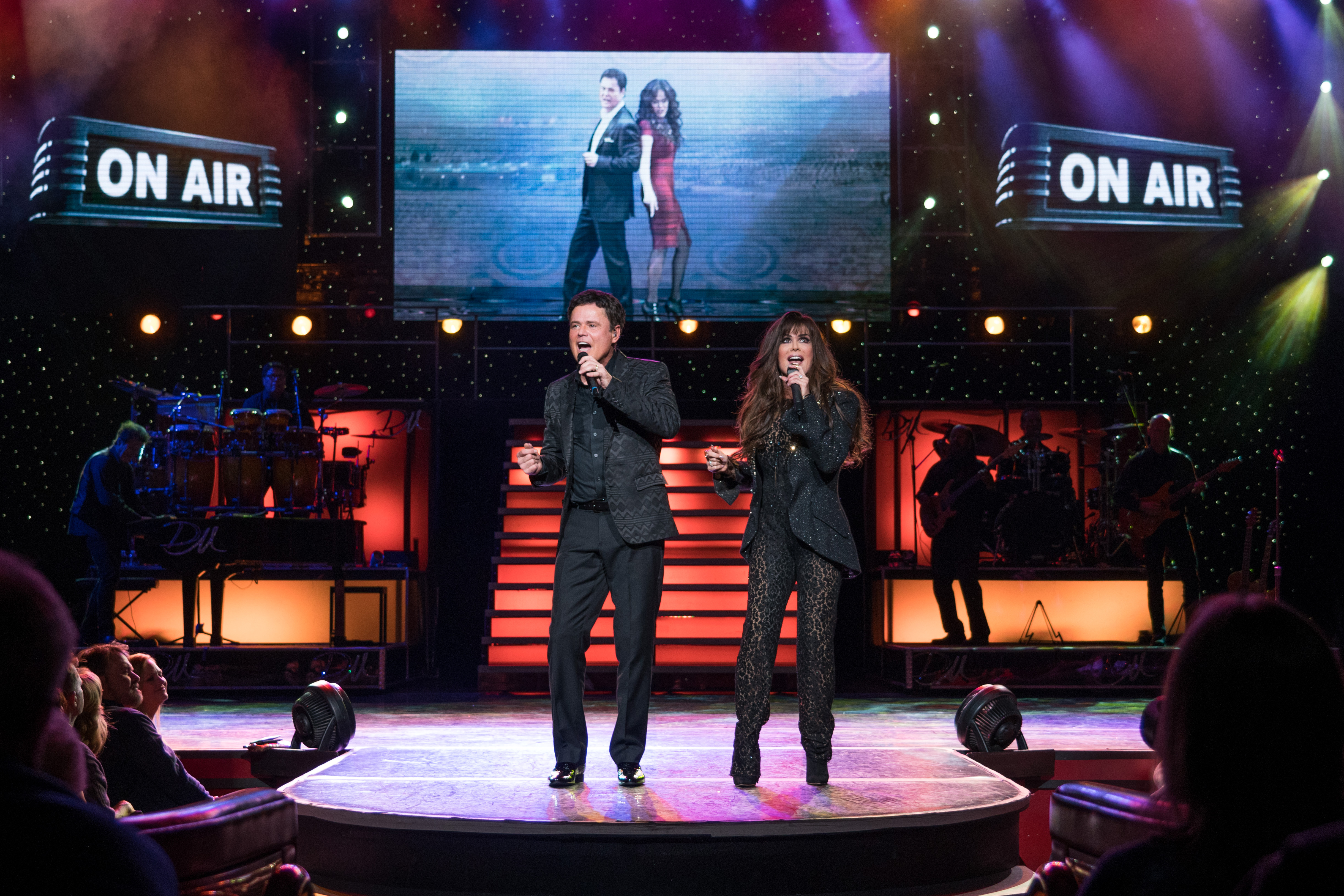 Donny and Marie Osmond perform at their long-running show at the Flamingo Hotel in Las Vegas.
