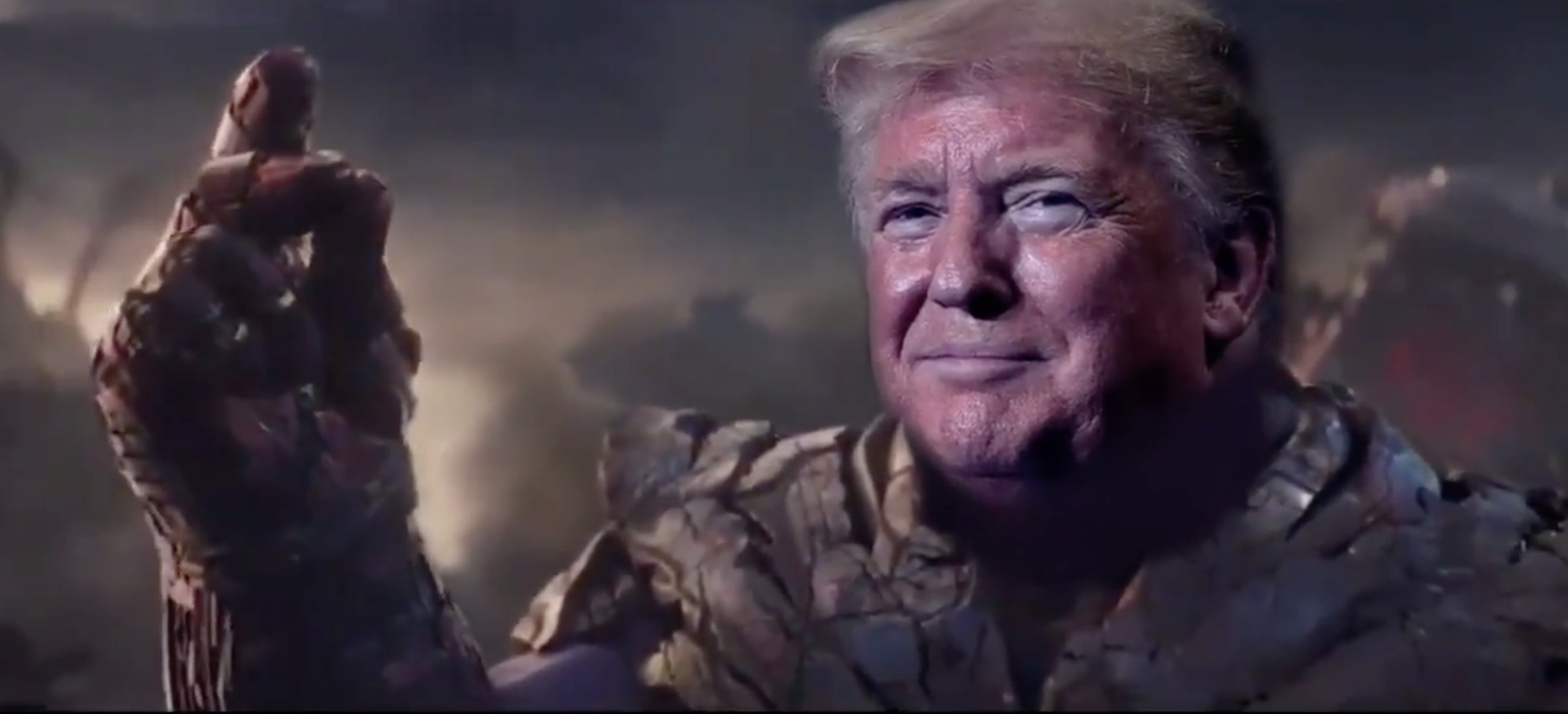 The video — tweeted out by a Trump supporter account — shows Trump's head on Thanos' body.