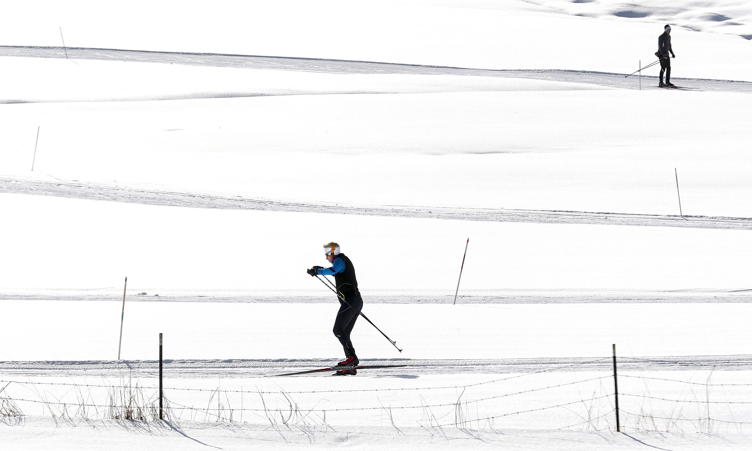Nordic skiers enjoy the sun as they glide along the White Pine Nordic Center's groomed track outside Park City on Tuesday, Dec. 10, 2019.