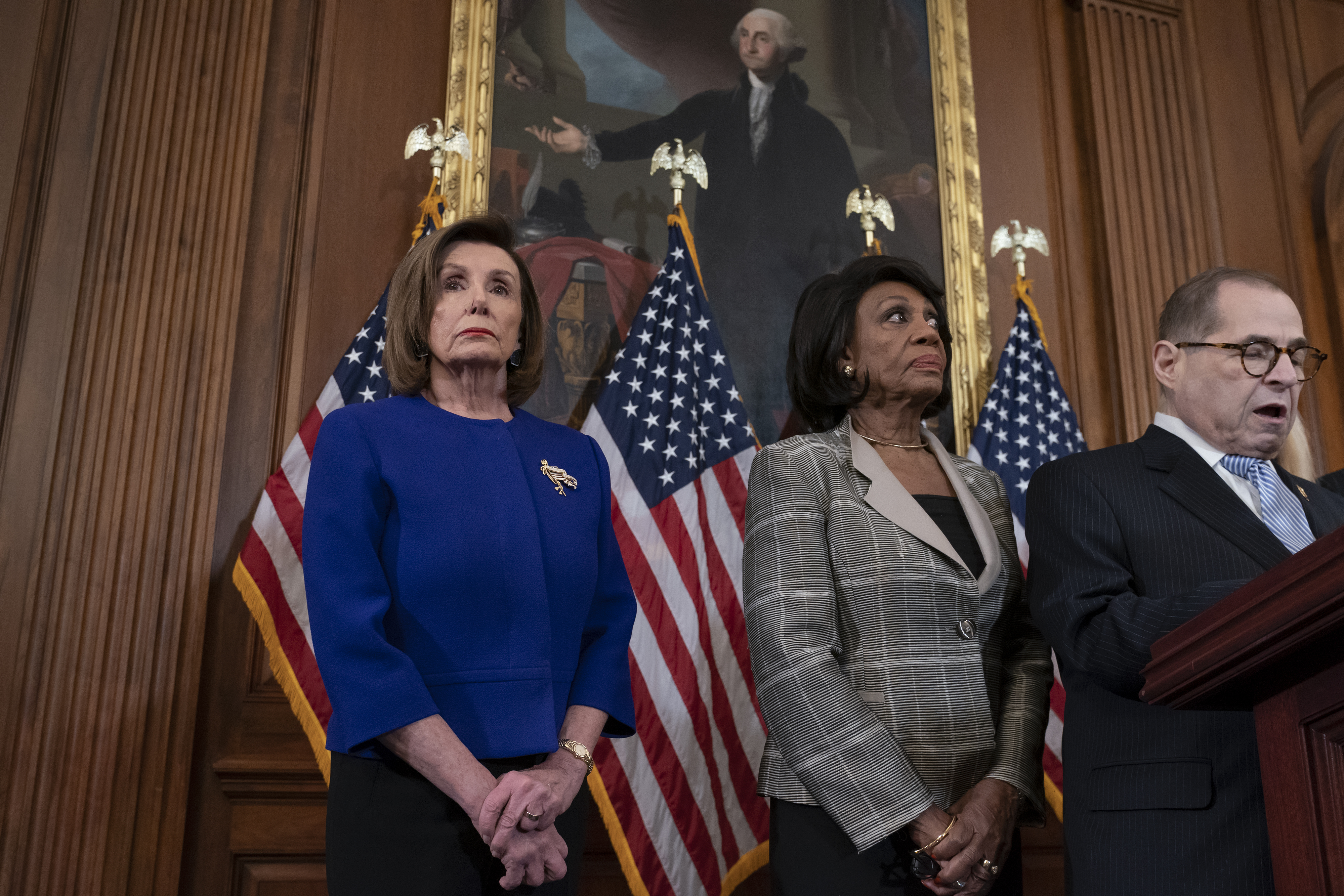 From left, Speaker of the House Nancy Pelosi, D-Calif., House Financial Services Committee Chairwoman Maxine Waters, D-Calif., and House Judiciary Committee Chairman Jerrold Nadler, D-N.Y., announce they are pushing ahead with two articles of impeachment against President Donald Trump — abuse of power and obstruction of Congress — charging he corrupted the U.S. election process and endangered national security in his dealings with Ukraine, at the Capitol in Washington, Tuesday, Dec. 10, 2019. (AP Photo/J. Scott Applewhite) ORG XMIT: DCSA124