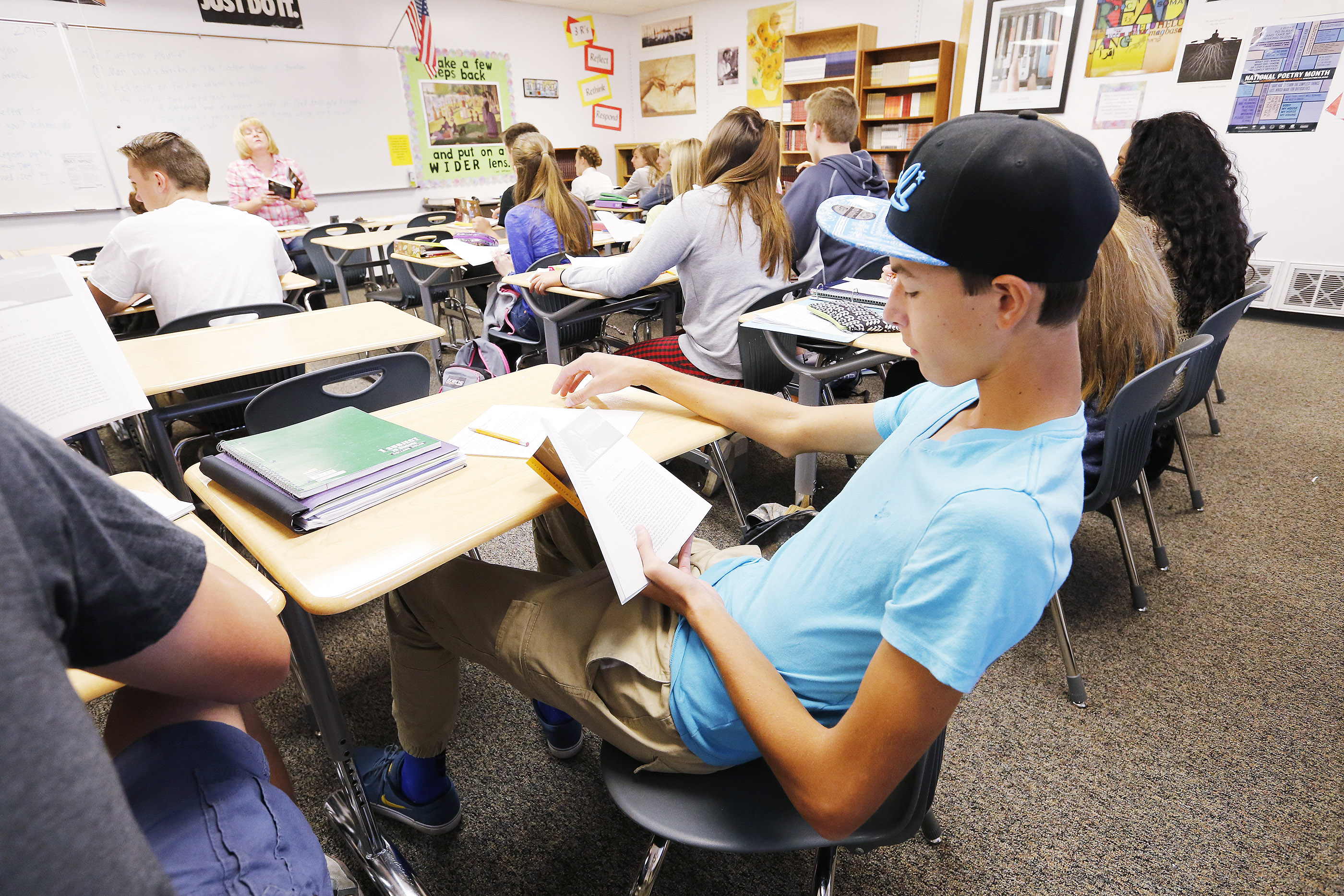 Students from Viewmont High School atttend class in a portable classroom in Bountiful Friday, Oct. 2, 2015.