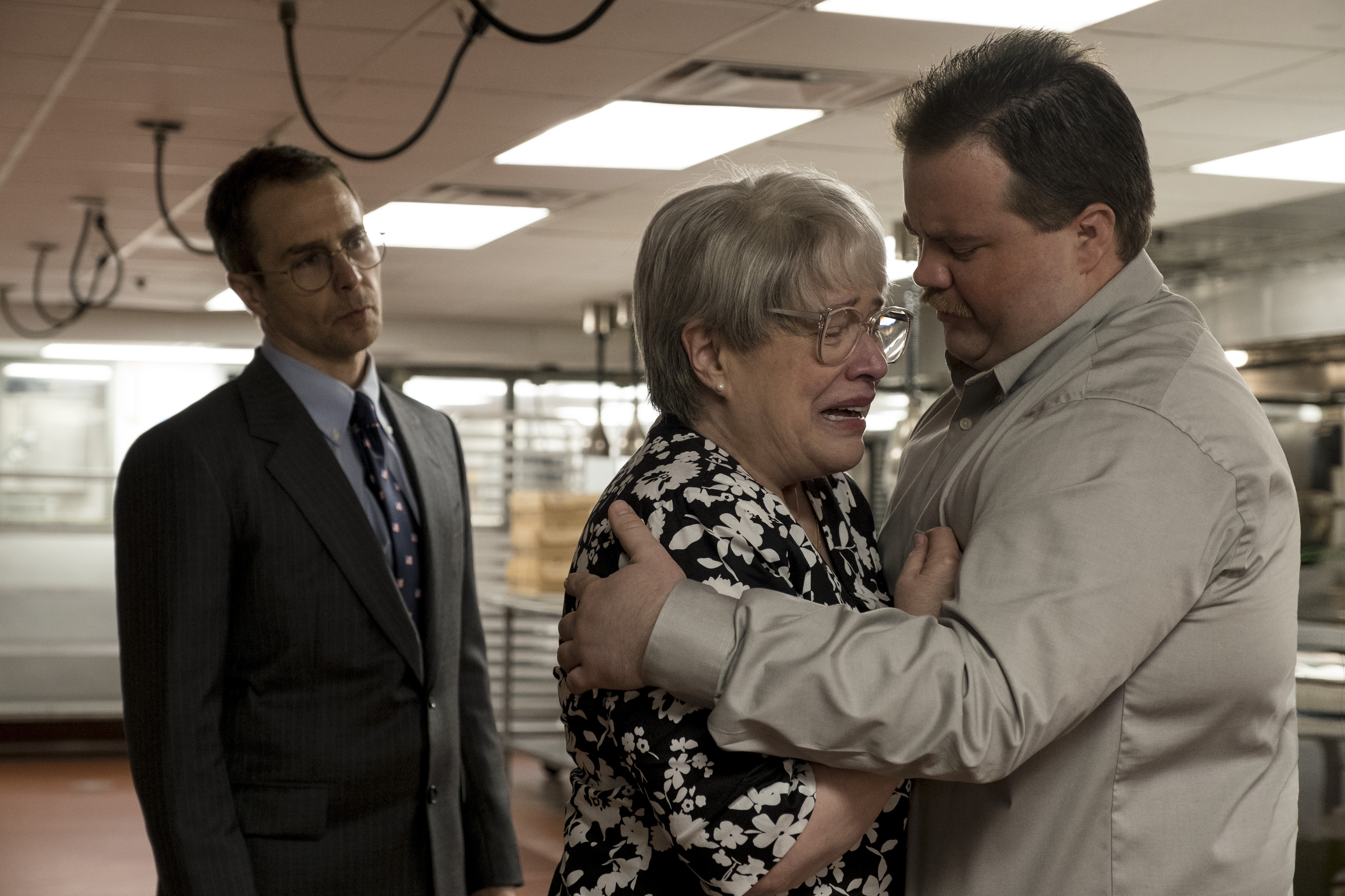 "This image released by Warner Bros. Pictures shows Sam Rockwell, from left, Kathy Bates and Paul Walter Hauser in a scene from ""Richard Jewell."" On Monday, Dec. 9, 2019, Bates was nominated for a Golden Globe for best supporting actress in a motion picture for her role in the film. (Claire Folger/Warner Bros. Pictures via AP)"