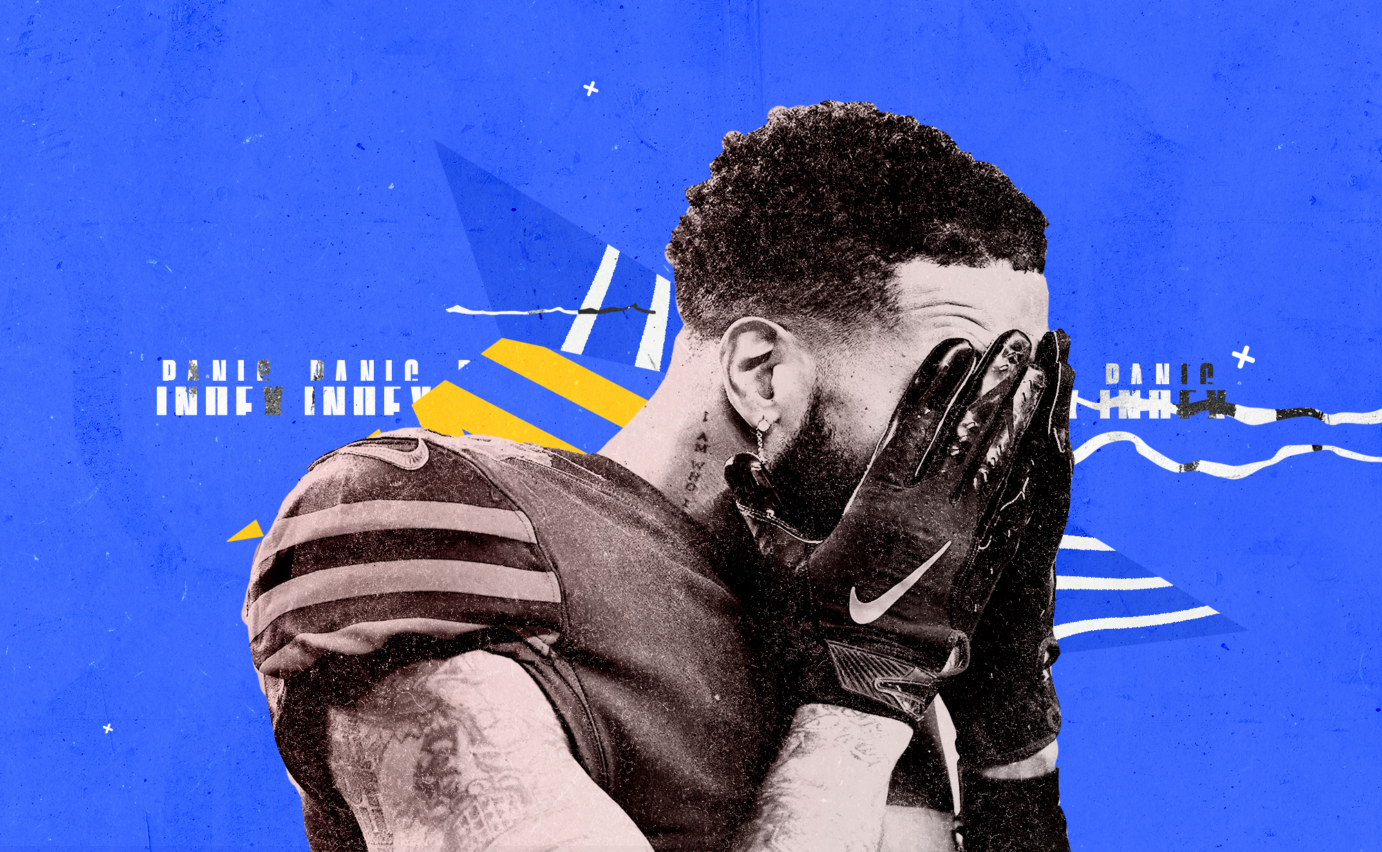 Browns WR Odell Beckham Jr. covers his face with his hands in frustration, with the words PANIC INDEX in the background