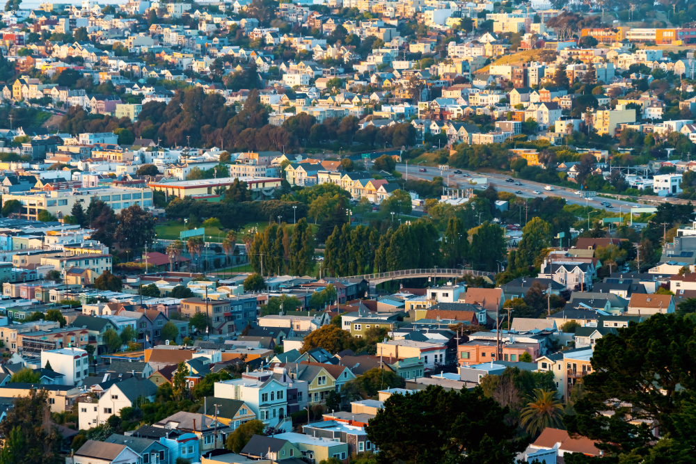 Tracts of homes in San Francisco photographed from the air, with a tall stand of trees in the middle of the frame.