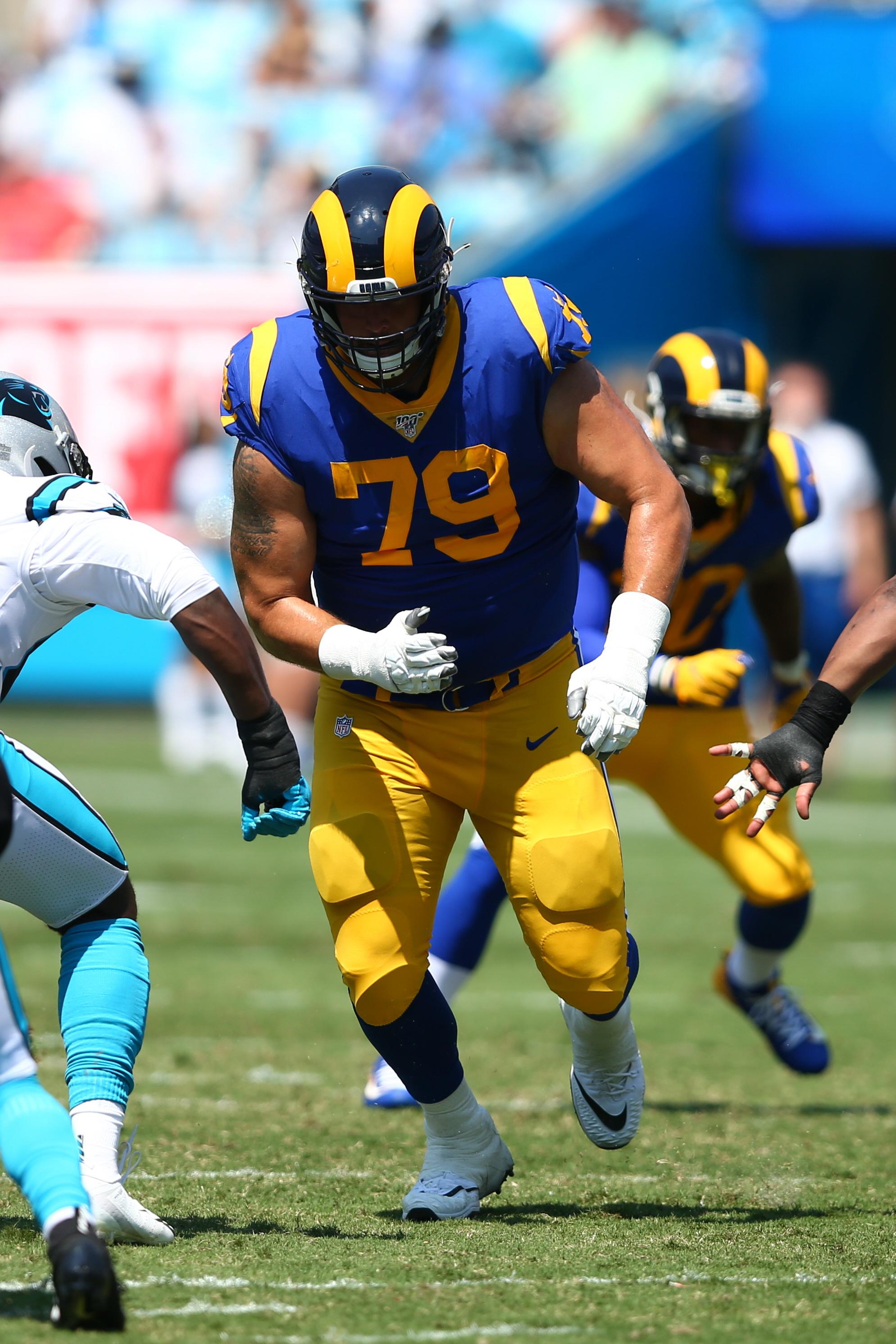 Los Angeles Rams RT Rob Havenstein blocks in Week 1 against the Carolina Panthers, Sep. 8, 2019.