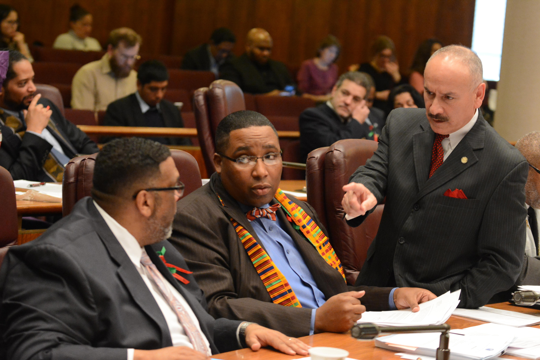 Ald. Chris Taliaferro, Ald. Jason Ervin, and Ald. Ariel Reboyras at the City Council meeting