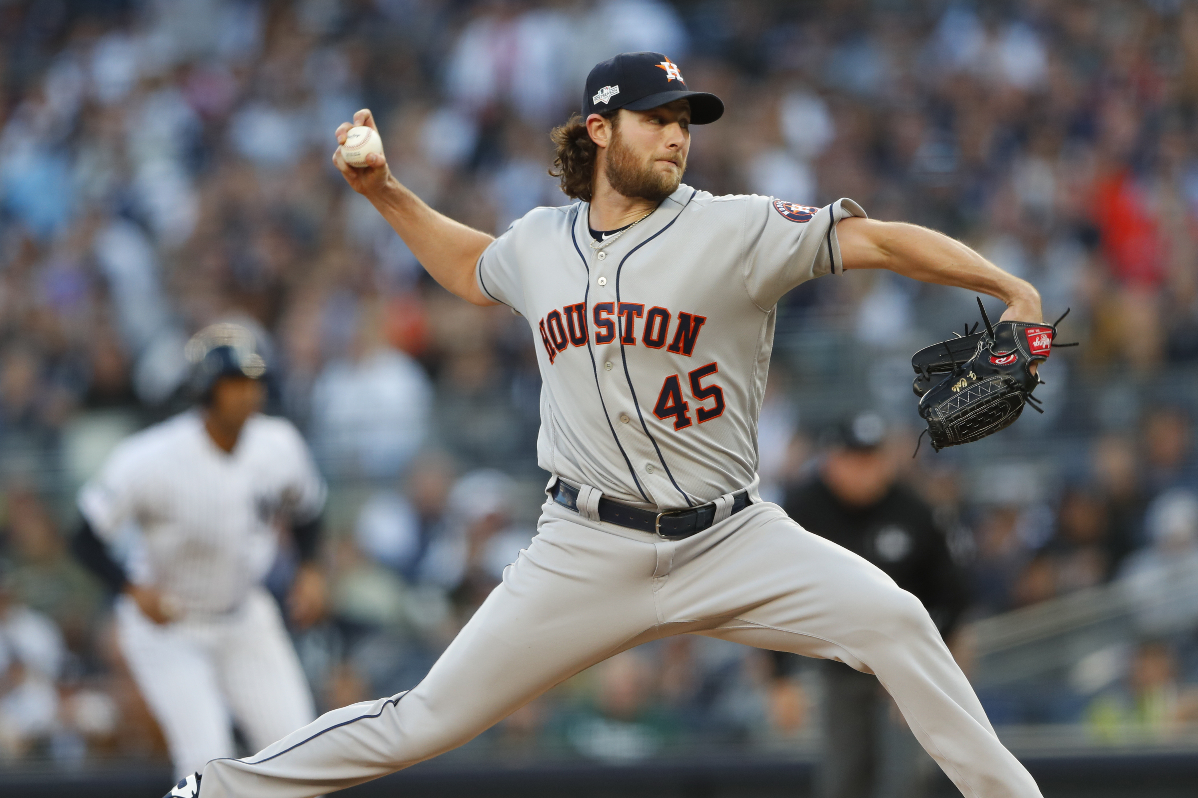 Gerrit Cole pitches in the 2019 ALCS.