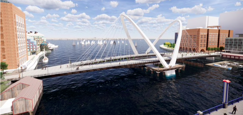 Rendering of a car-free bridge across water in an urban area.