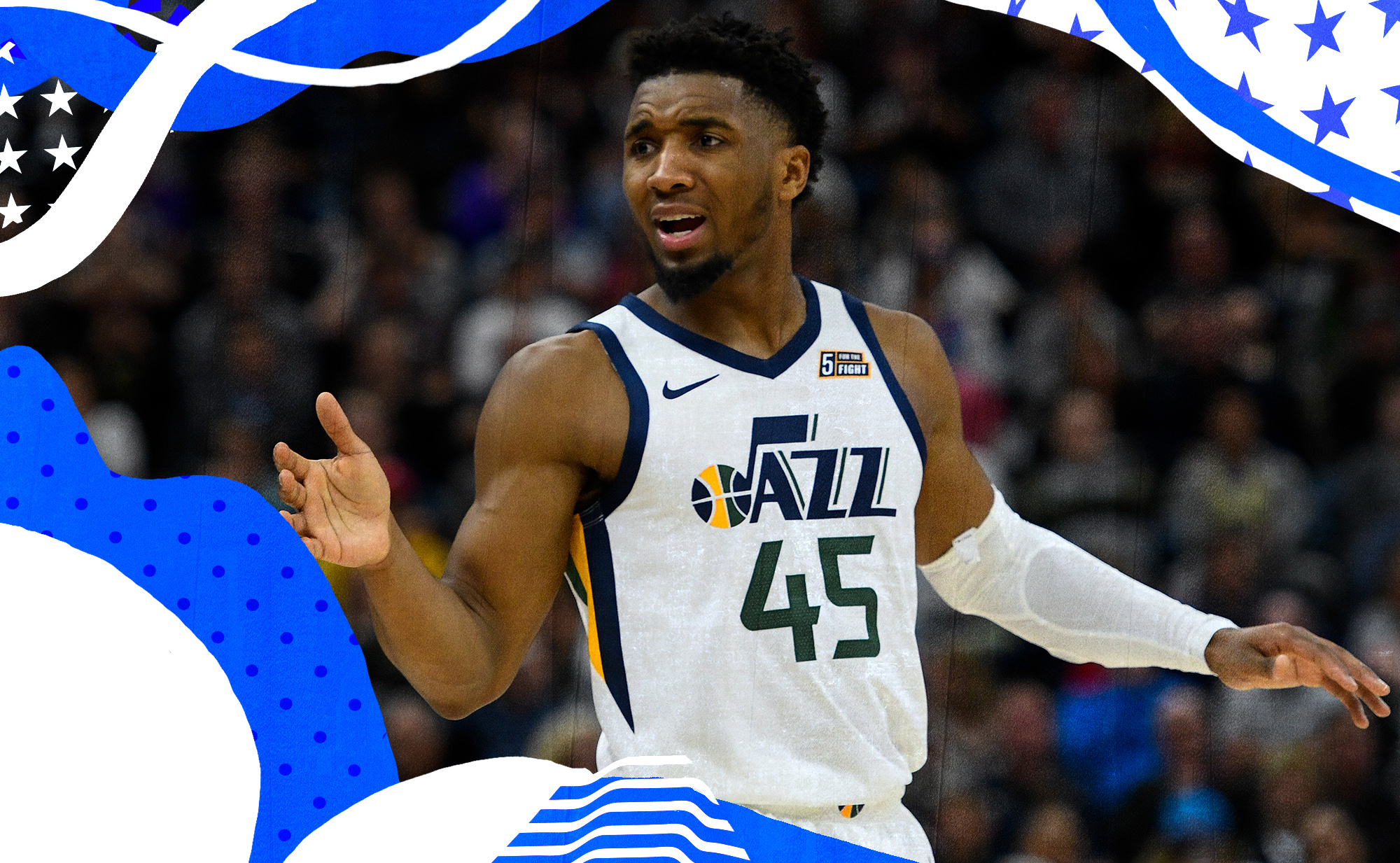 Donovan Mitchell frustrated on the court.