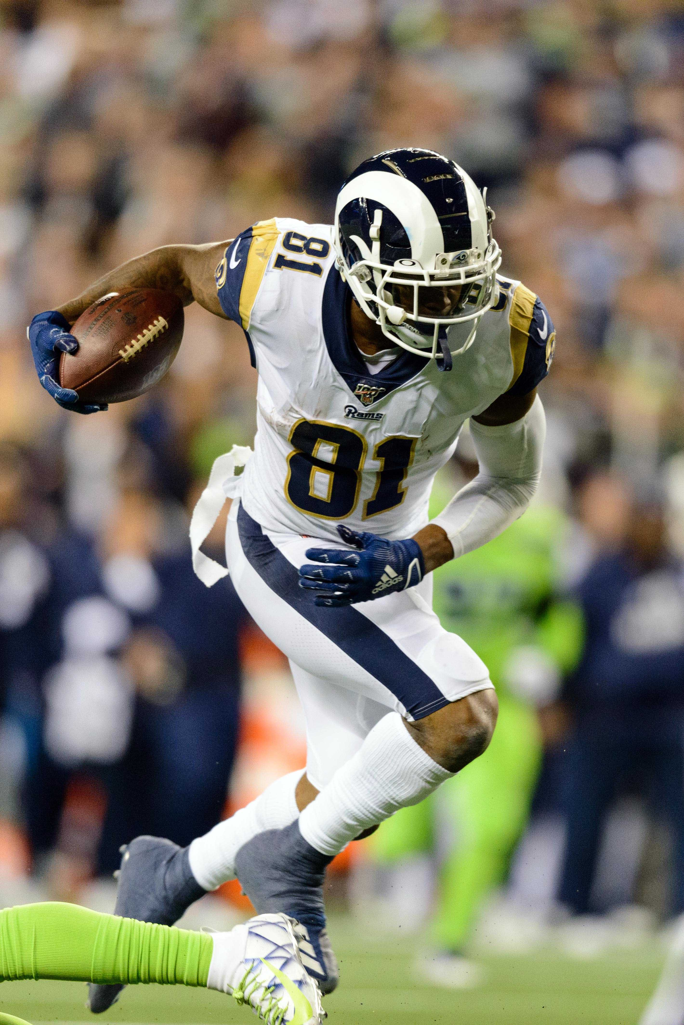Los Angeles Rams TE Gerald Everett runs after a catch against the Seattle Seahawks in Week 5, Oct. 3, 2019.