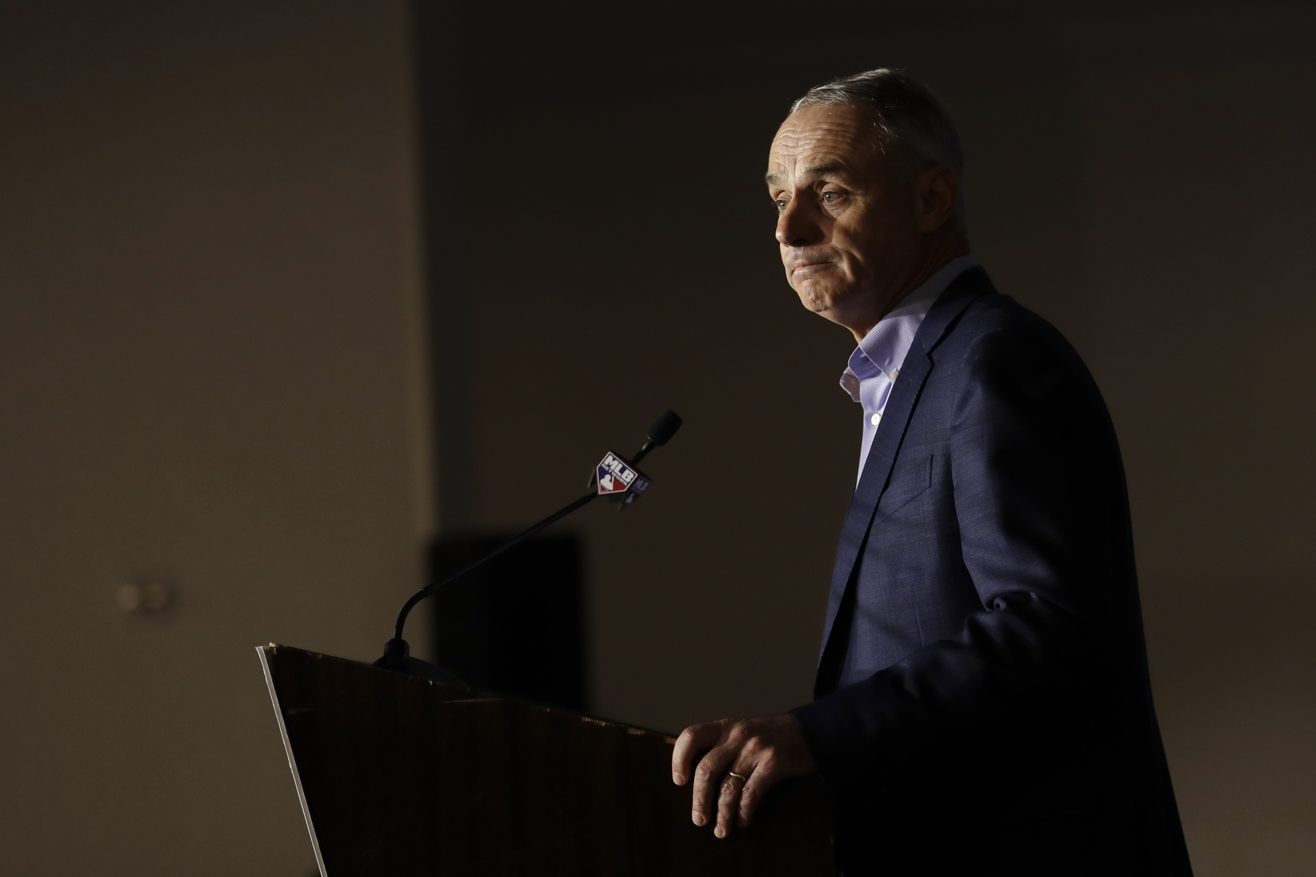 Commissioner Rob Manfred speaks during the Major League Baseball winter meetings Wednesday in San Diego.