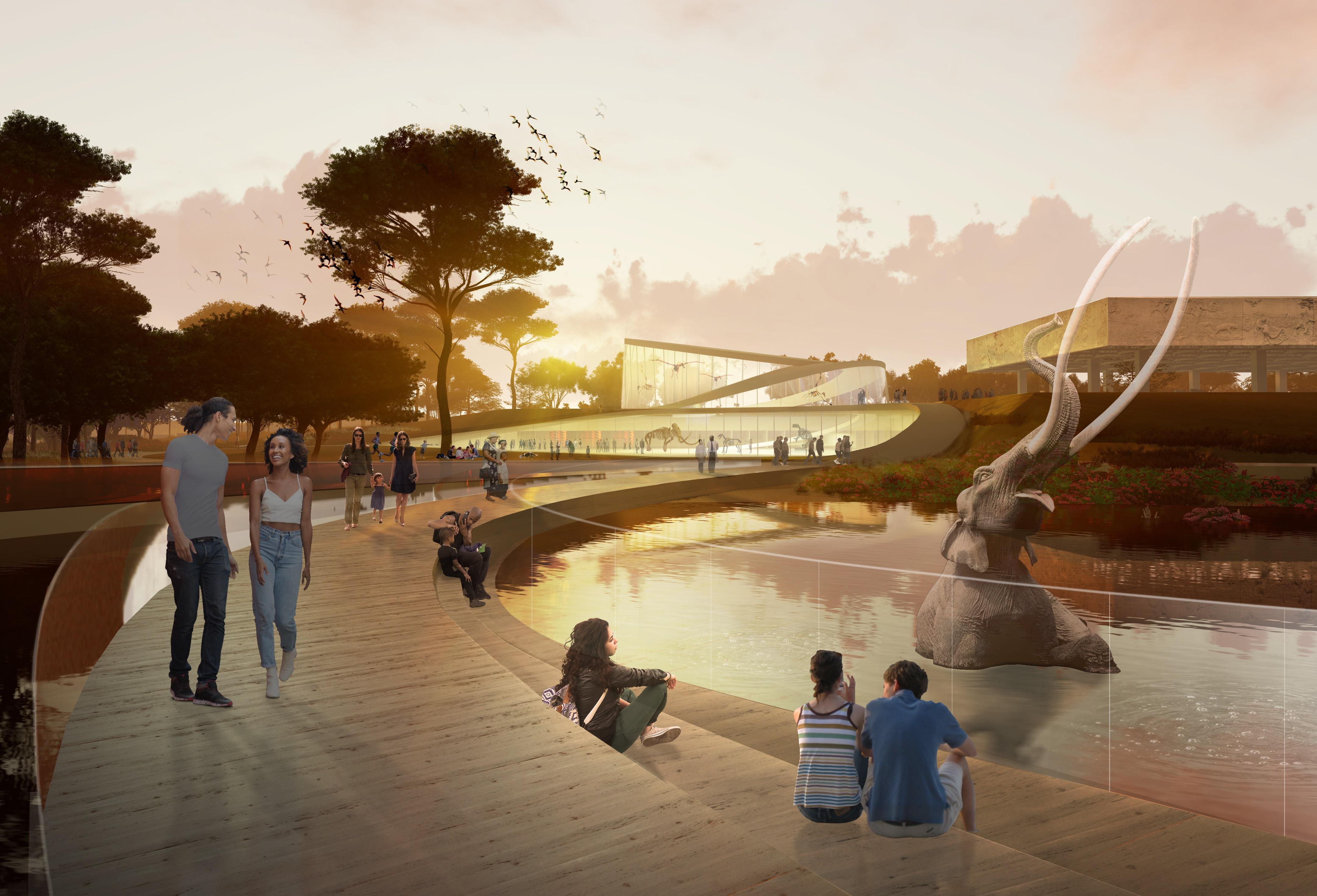 A rendering of a pathway extending over the tar pits with new low-rise buildings visible in the background.
