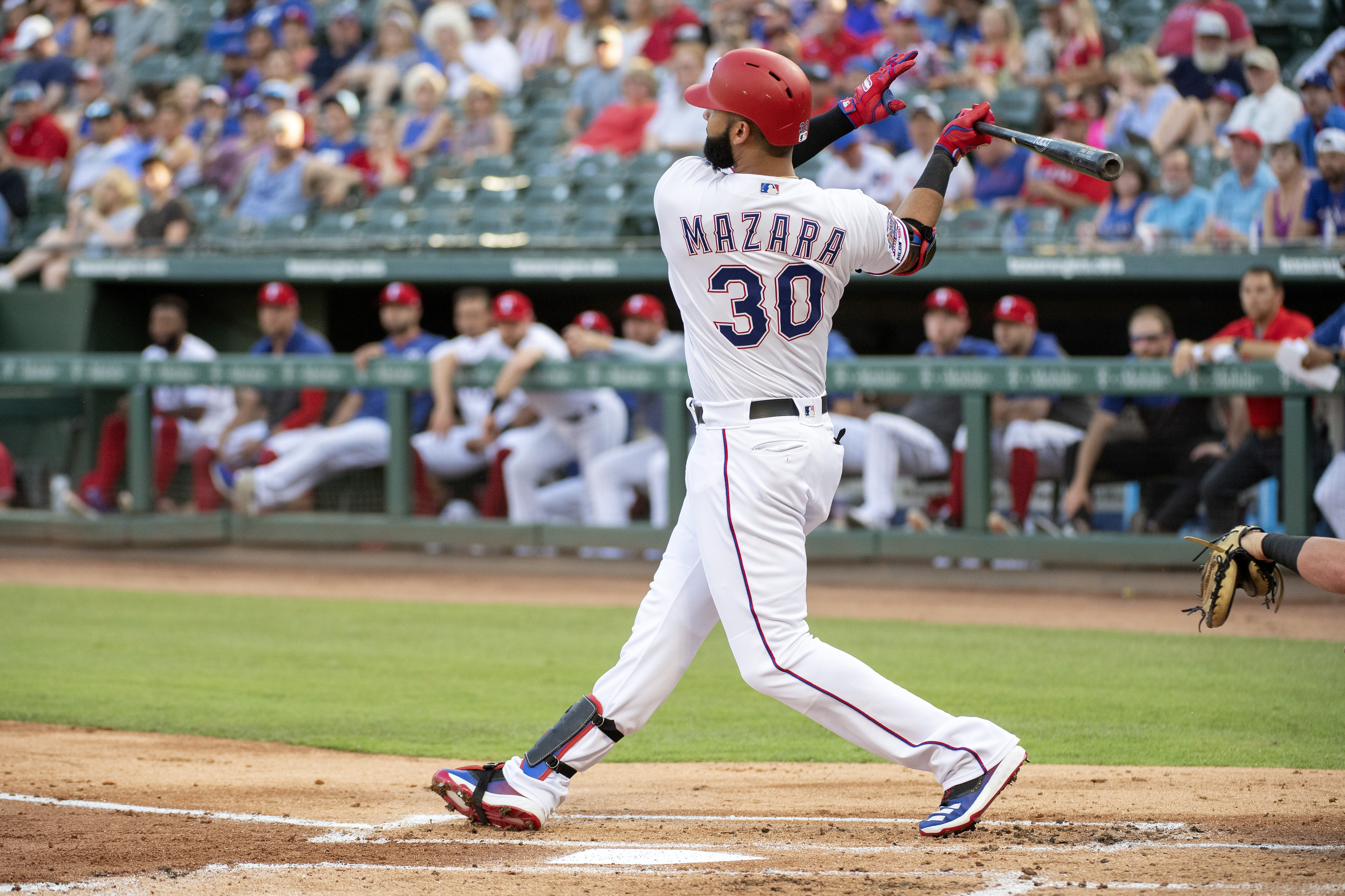 Nomar Mazara follows through on a 505-foot home run off White Sox starting pitcher Reynaldo Lopez on June 21, 2019, in Arlington, Texas. It was the longest homer in baseball last season. (AP)