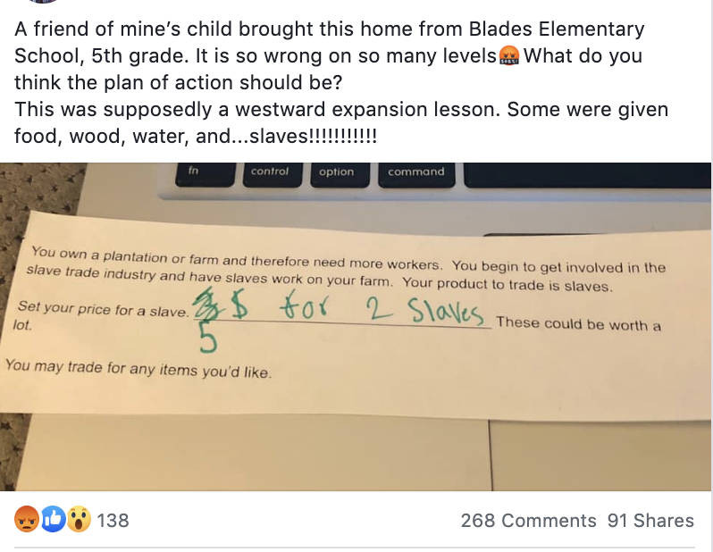 The question appeared on a recent exam that asked students to pretend they worked in the slave trade. The tests asked them to set a price for a slave
