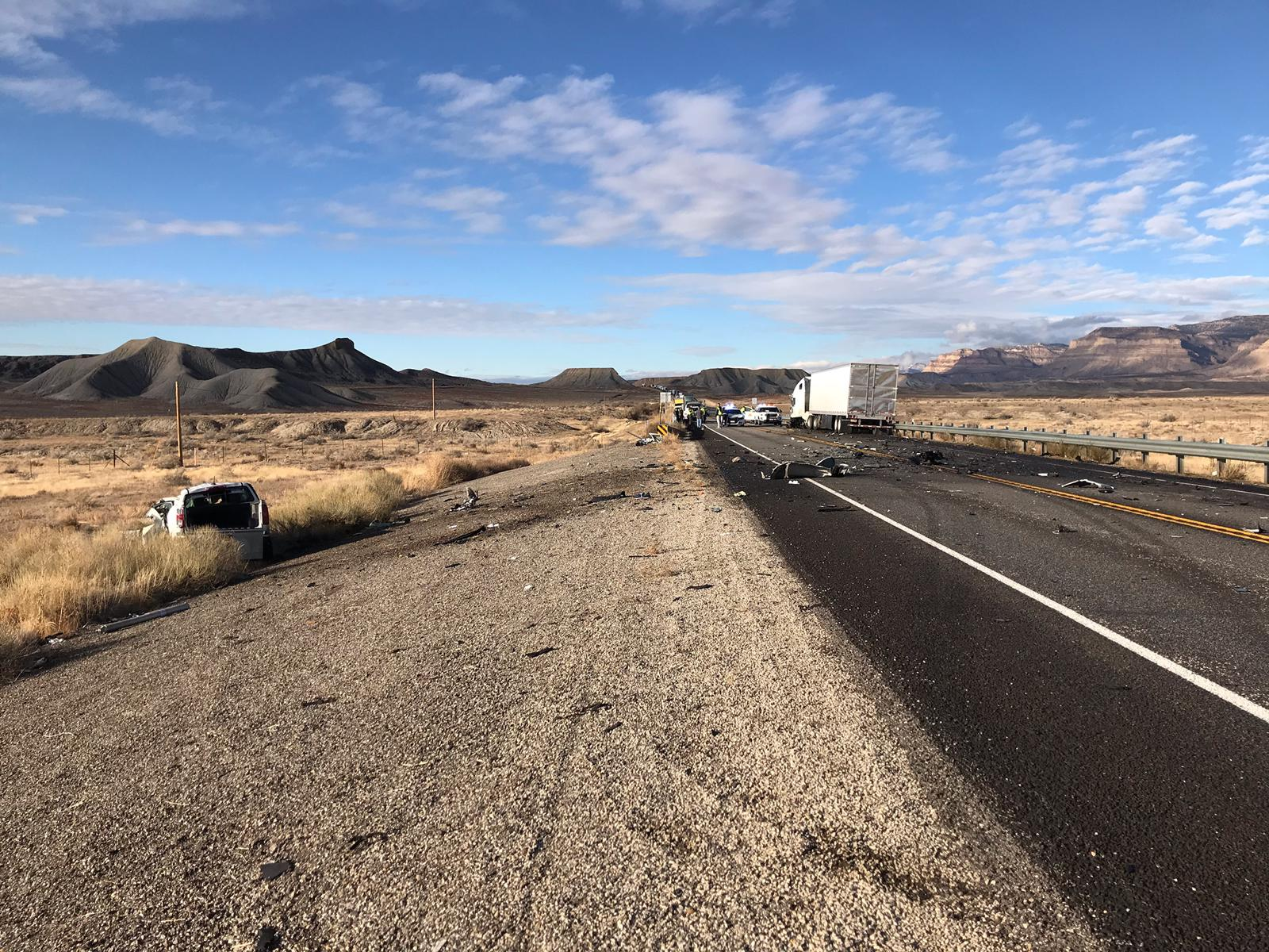 A man was killed in a head-on collision between a pickup truck and a semitractor-trailer on U.S. 6 between Price and Green River on Wednesday, Dec. 11, 2019.