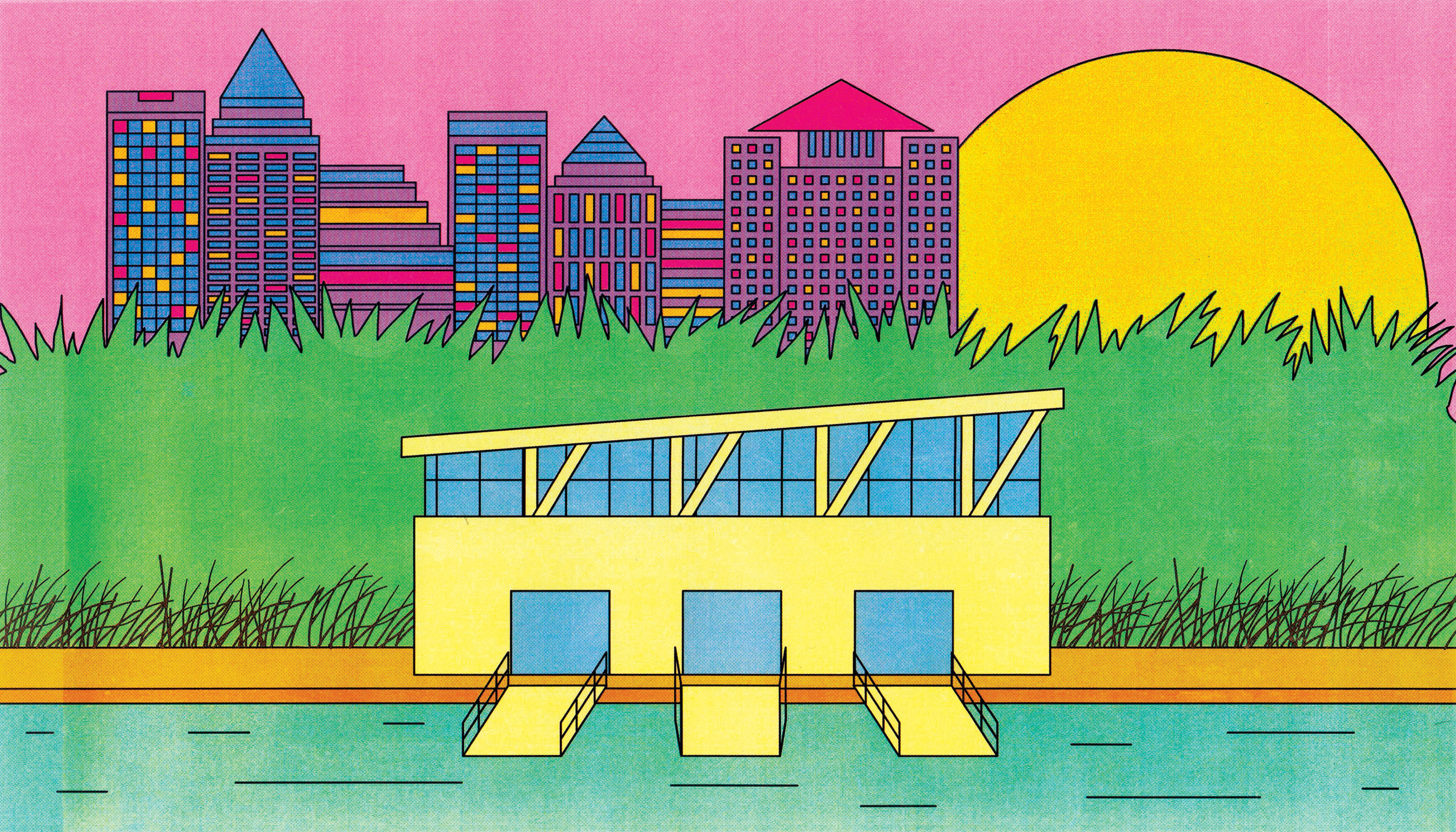 A yellow geometric, modern building with a slanted roof and glass panel walls sits at the edge of a body of water. Behind the building is tall plant life and a in the distance there is a city skyline. Illustration.