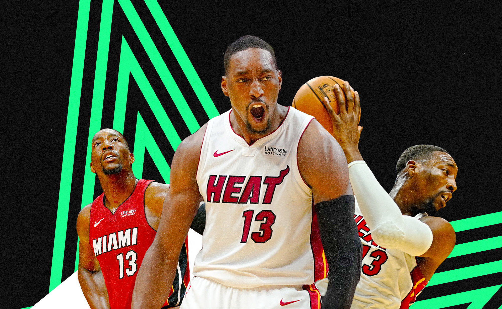 Collage of three photos of Bam Adebayo in a Miami Heat jersey, looking up with his hands on hips, celebrating after a play, and securing the basketball behind his shoulder.