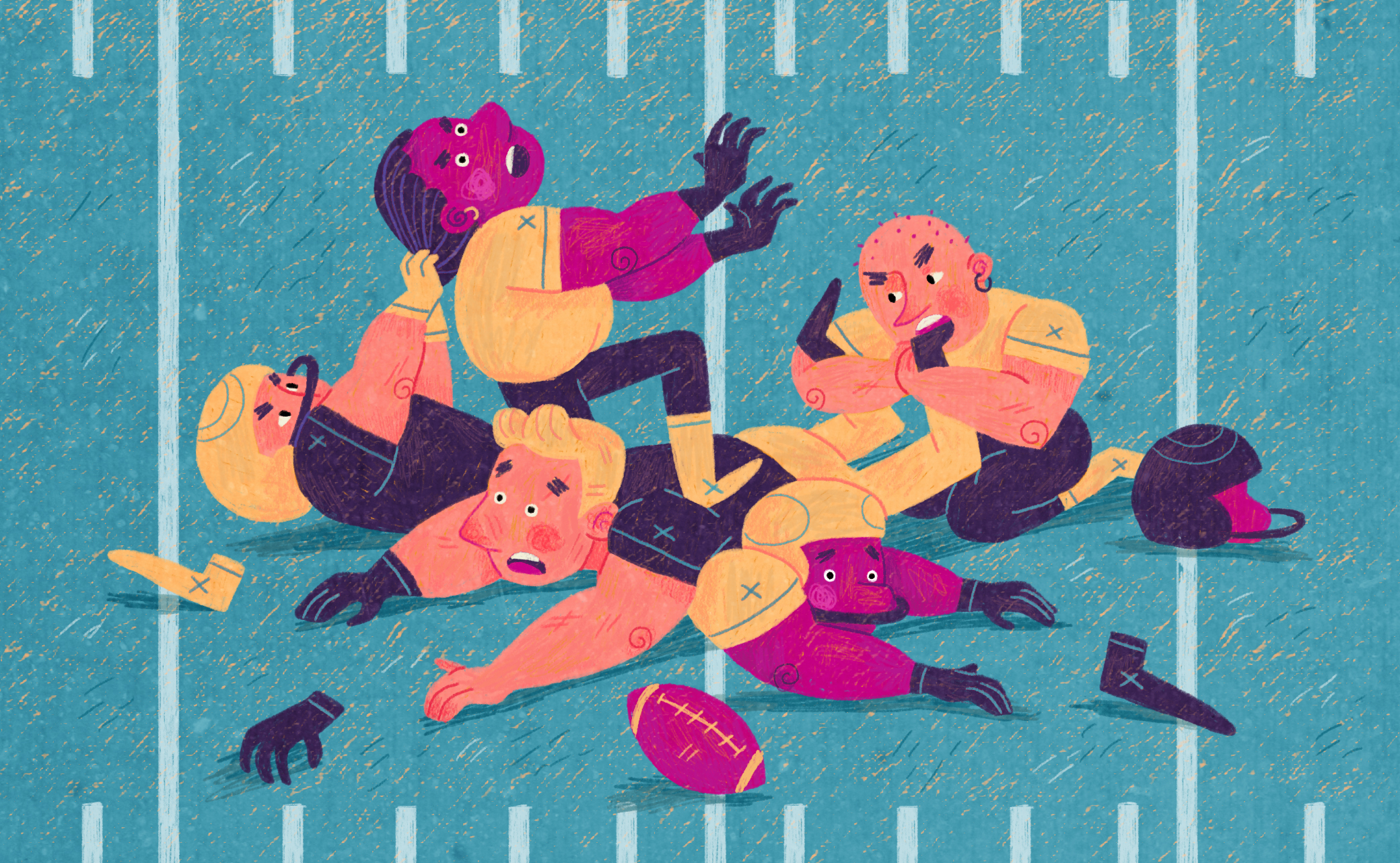 Cute illustration, in the style of a children's book, of various players biting, scratching, and smashing one another while their equipment goes flying.