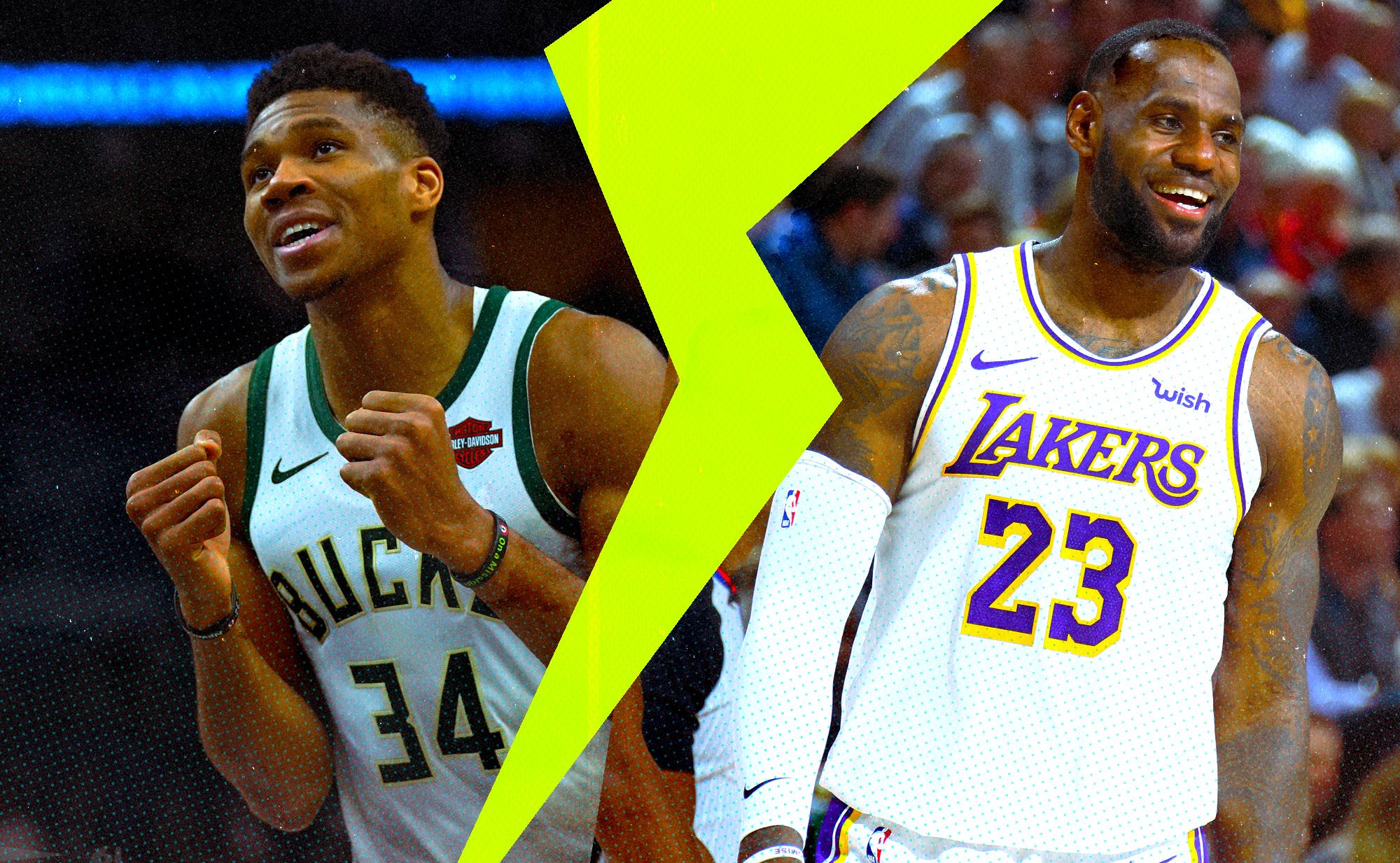 Giannis Antetokounmpo and LeBron James in a split screen.
