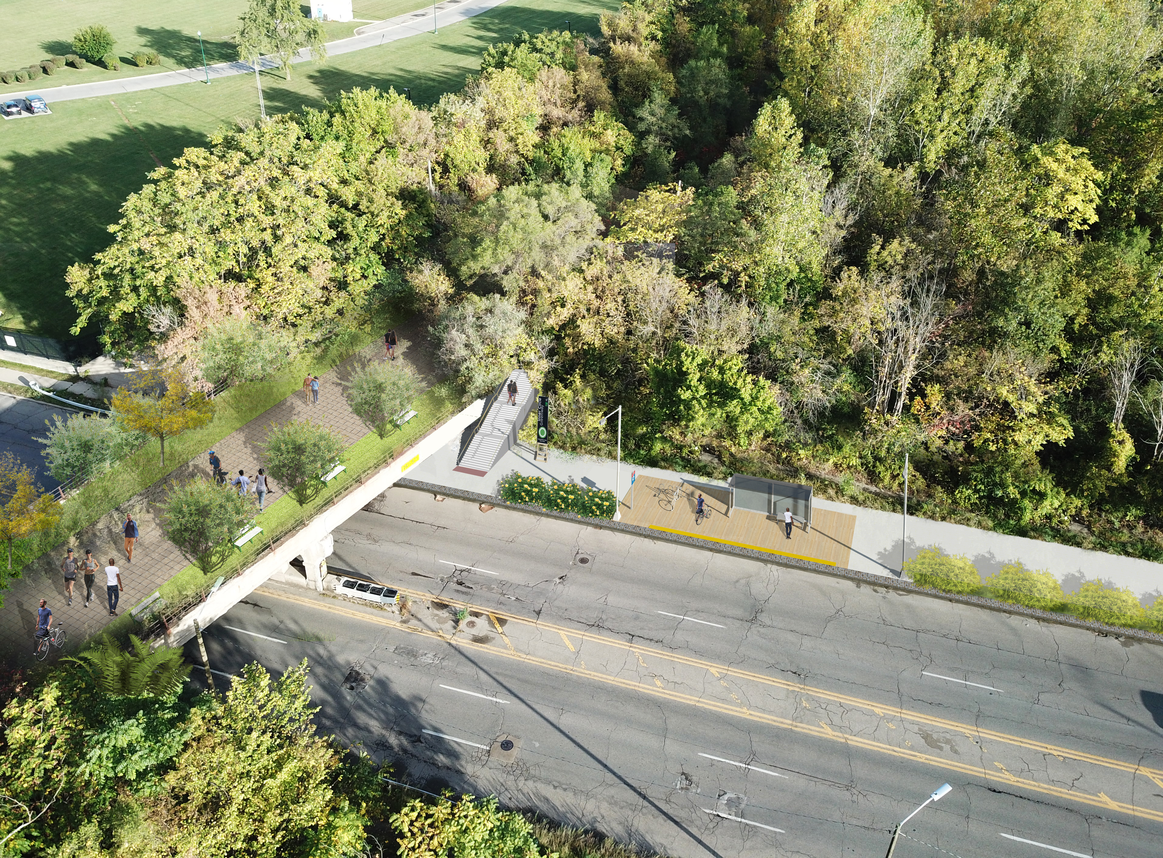 Rendering of a pedestrian pathway lined with trees that crosses over a highway.