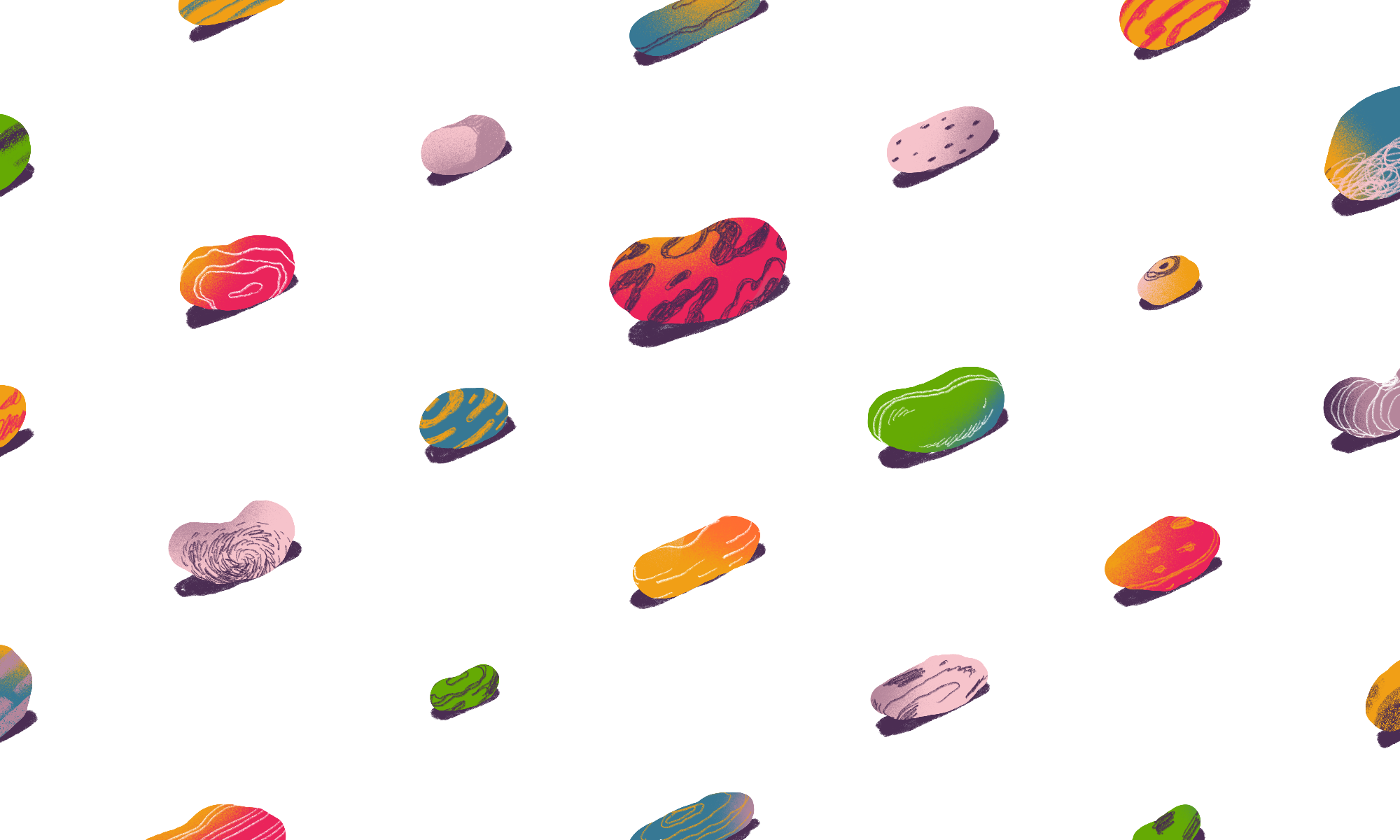 Beans of various shapes and colors.