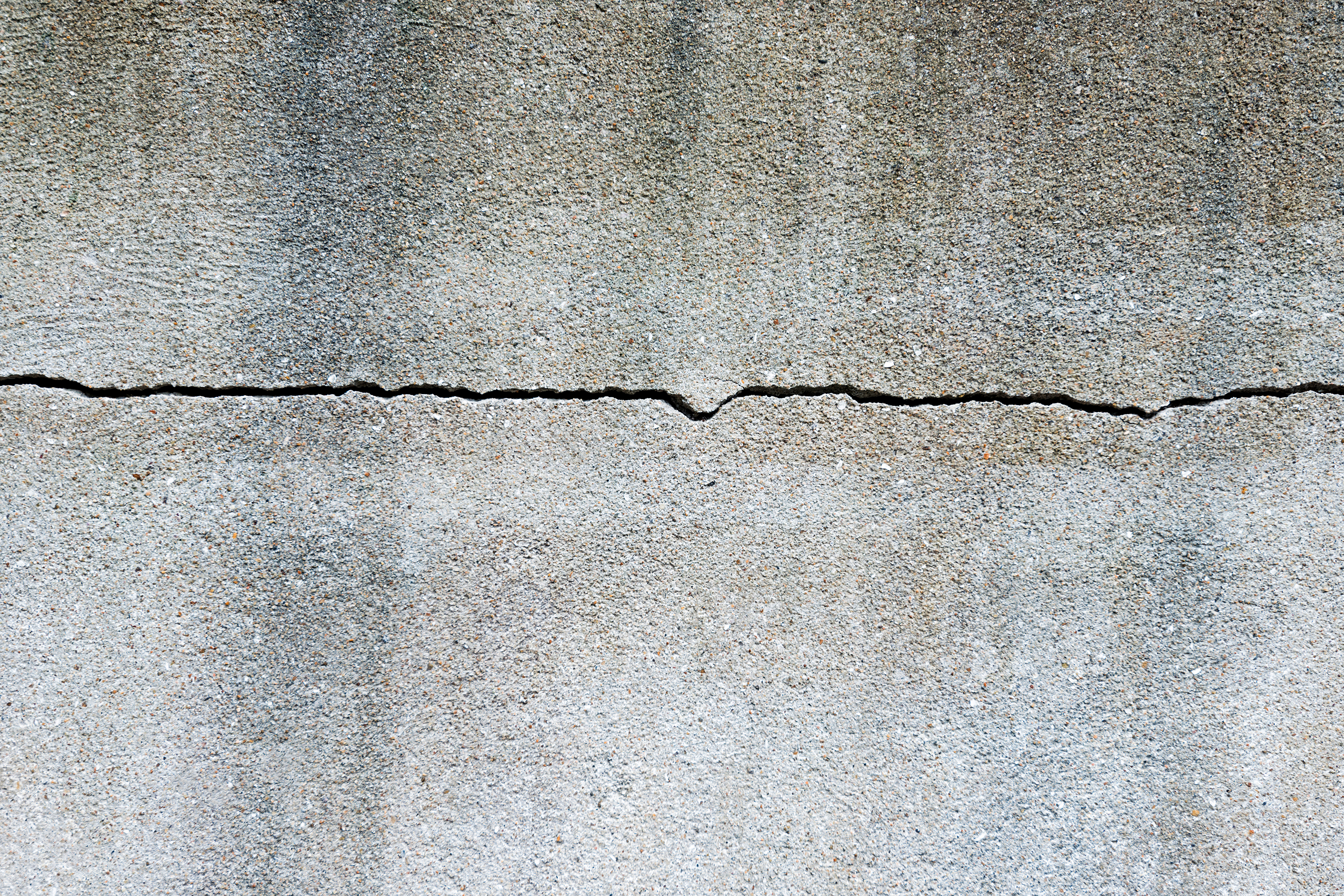 Crack in concrete wall.