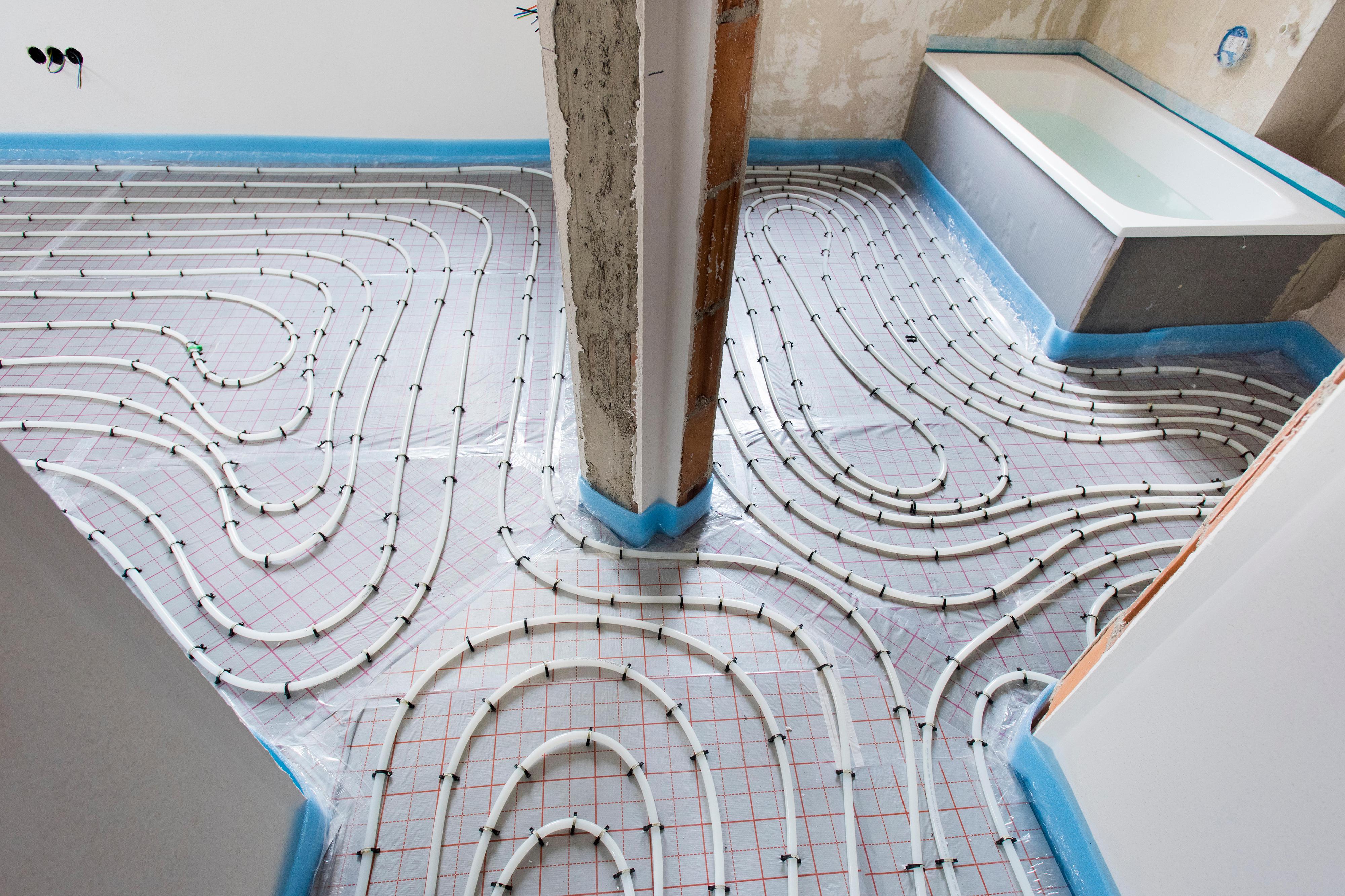 Radiant floor heating installed in bathroom.