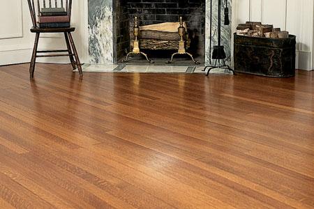 Shiny and clean hardwood floor finish.