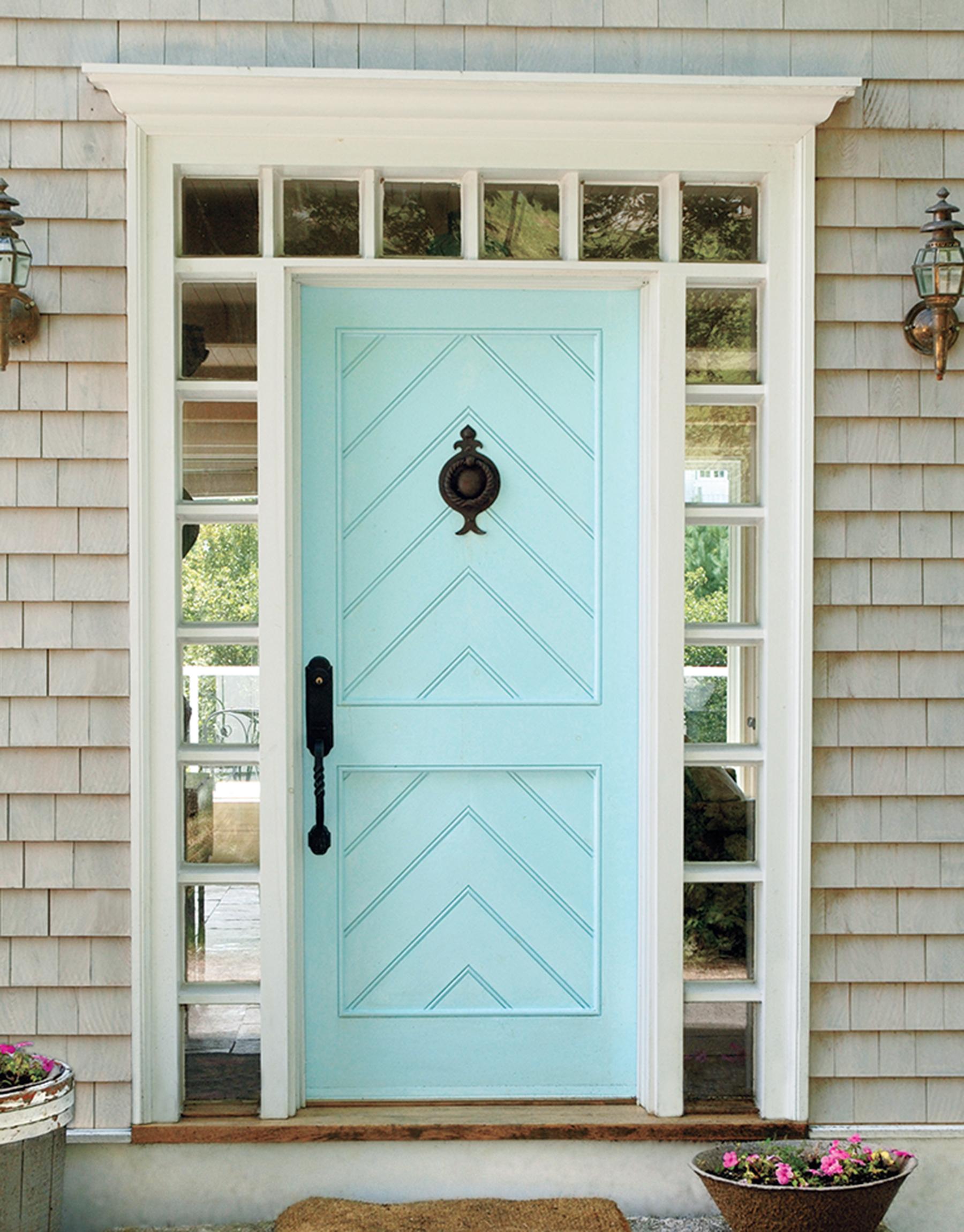 Light blue front door.