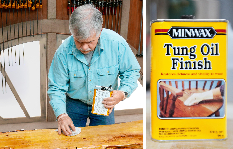Man Using Tung Oil Finish
