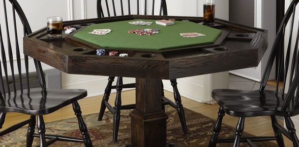 Black wooden DIY poker table.