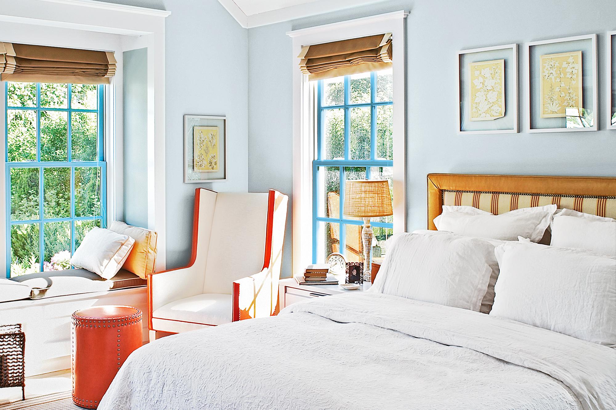 Upholstered Headboard in bright bedroom.