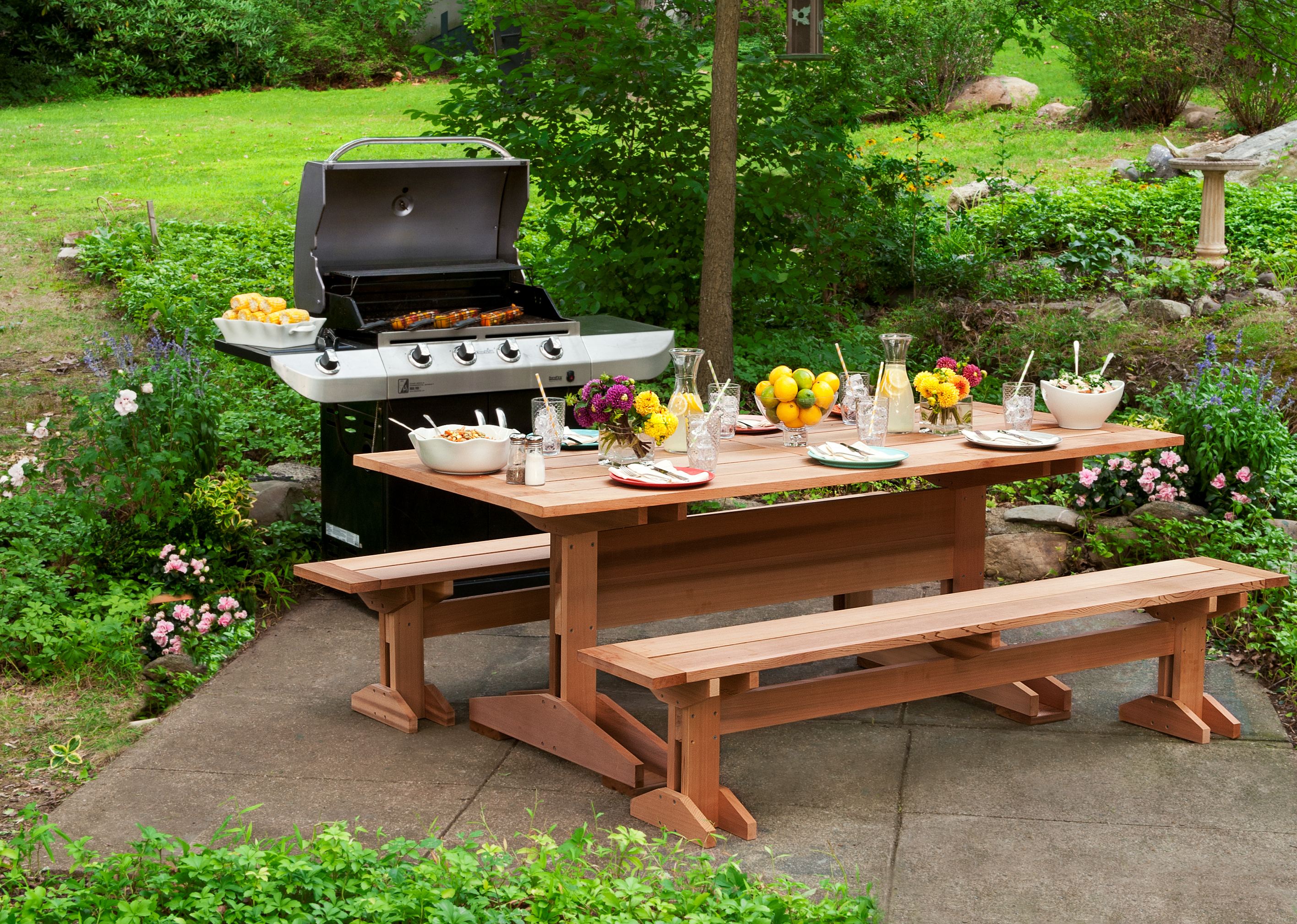 Cedar picnic table and grill.