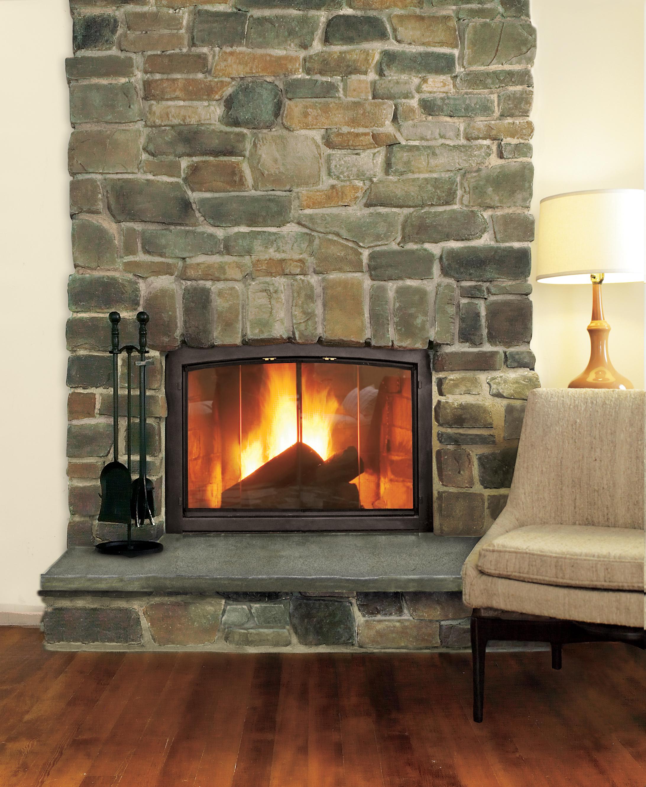 Stone fireplace surround.