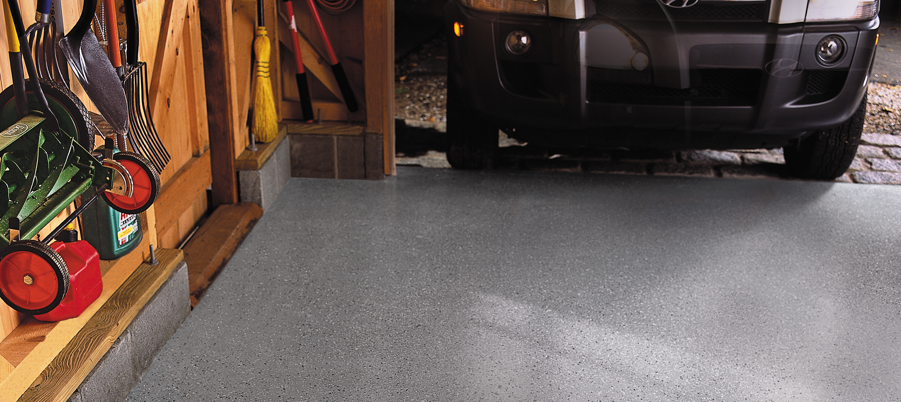 Gray Flannel Epoxy Garage Floor Coating with granite color flecks, from Quikrete.