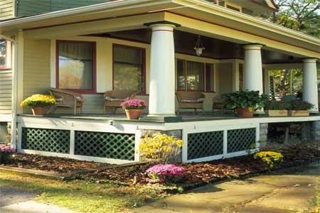 Deck Lattice In Front Of Home