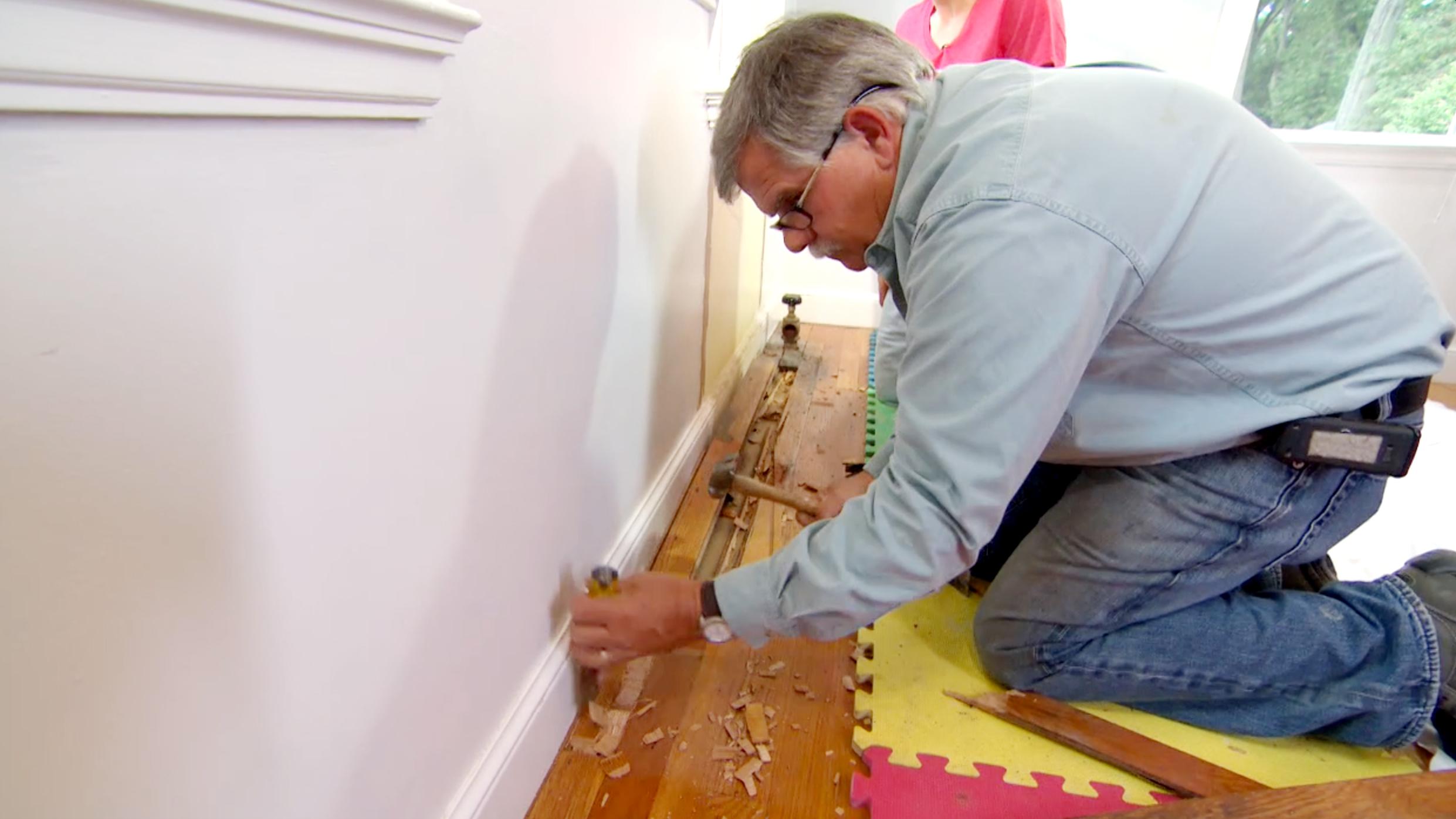 S9 E12, Tom Silva repairs tongue and groove flooring