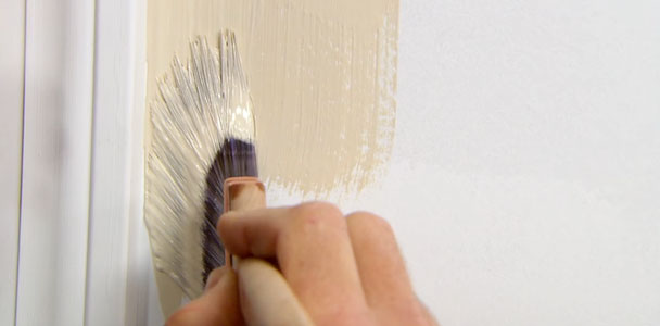 Sash brush used for cutting in paint.