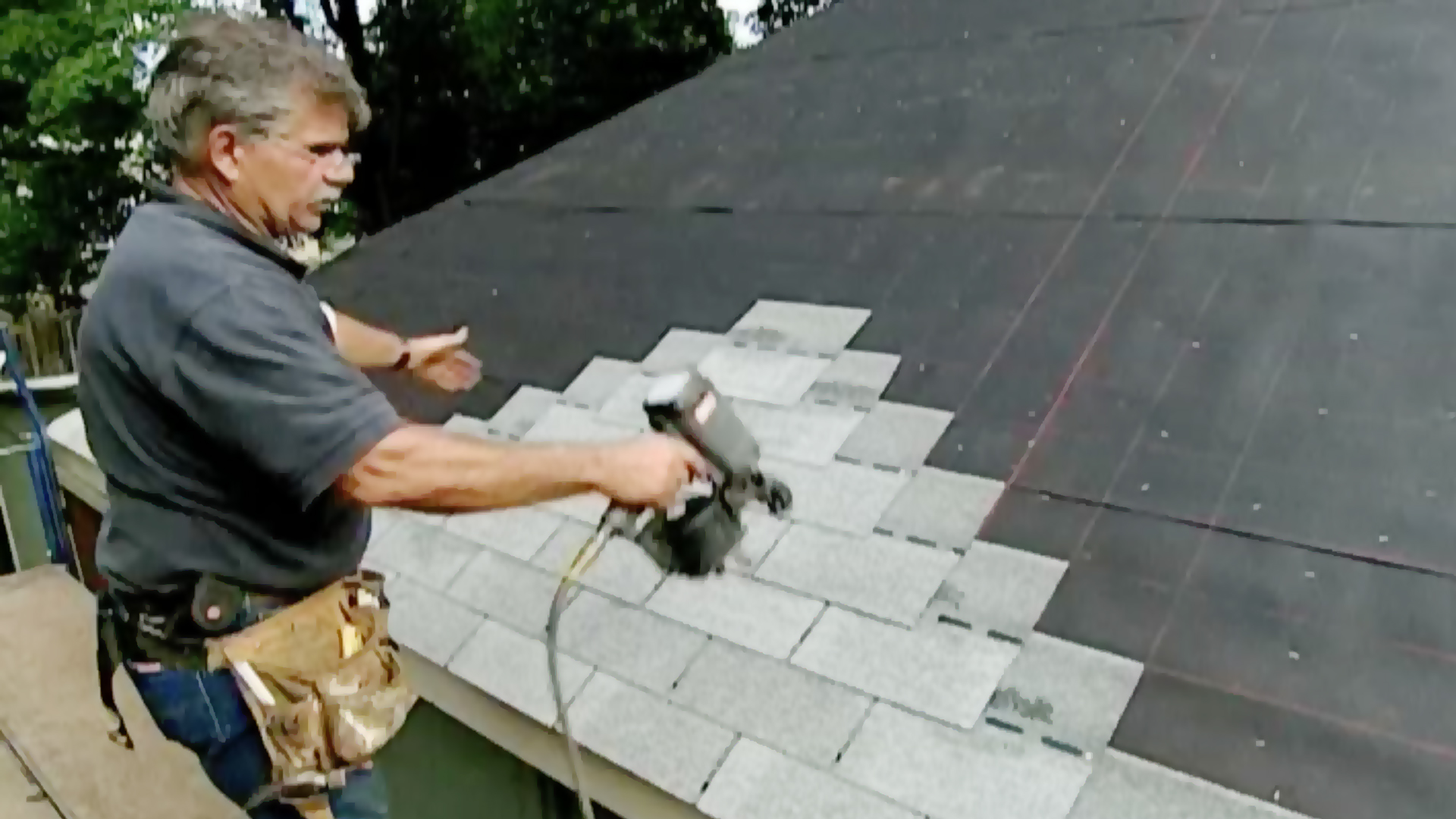 old Ask segment, Tom Silva reshingles a roof