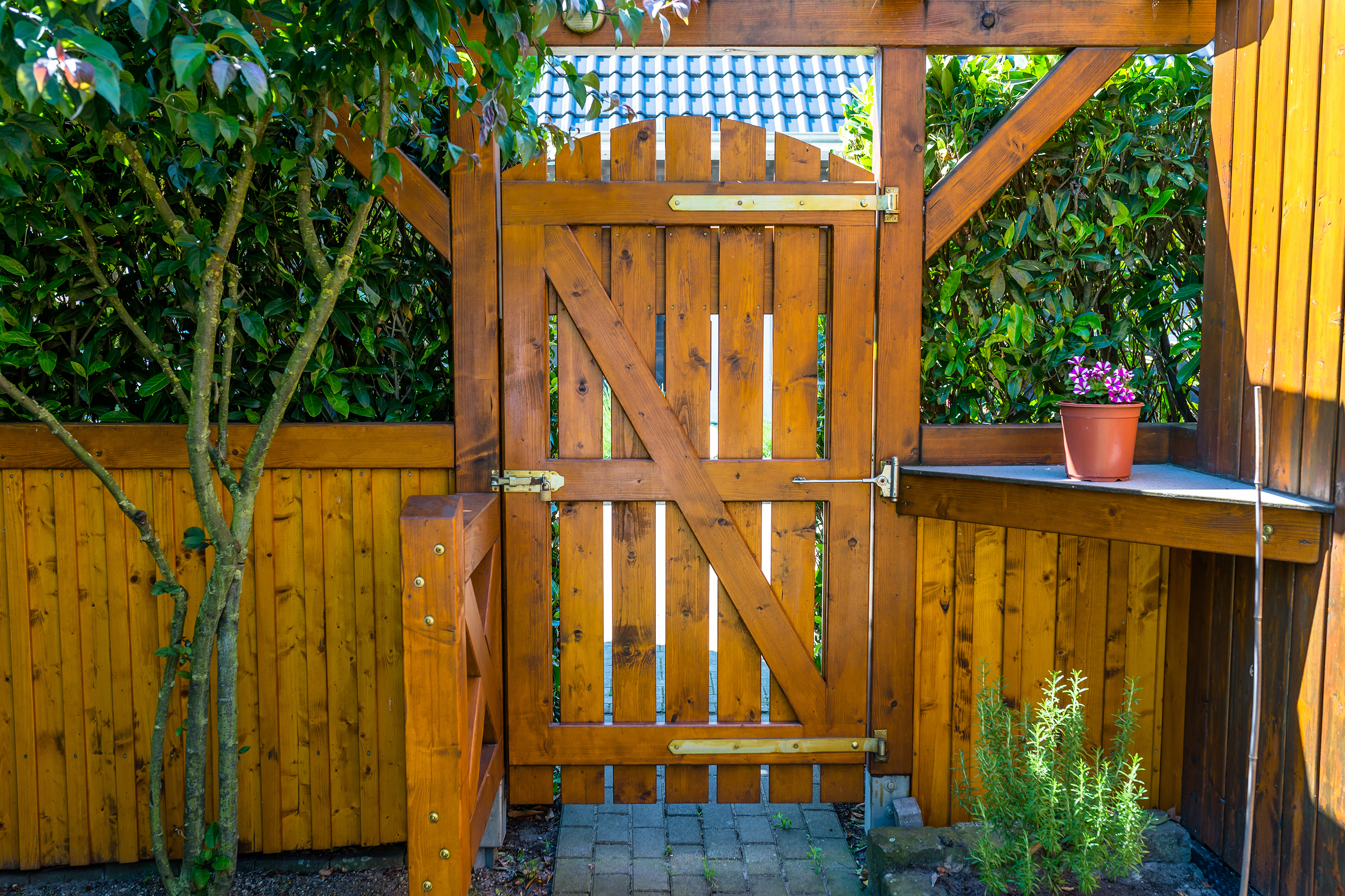 Stained fence in garden.