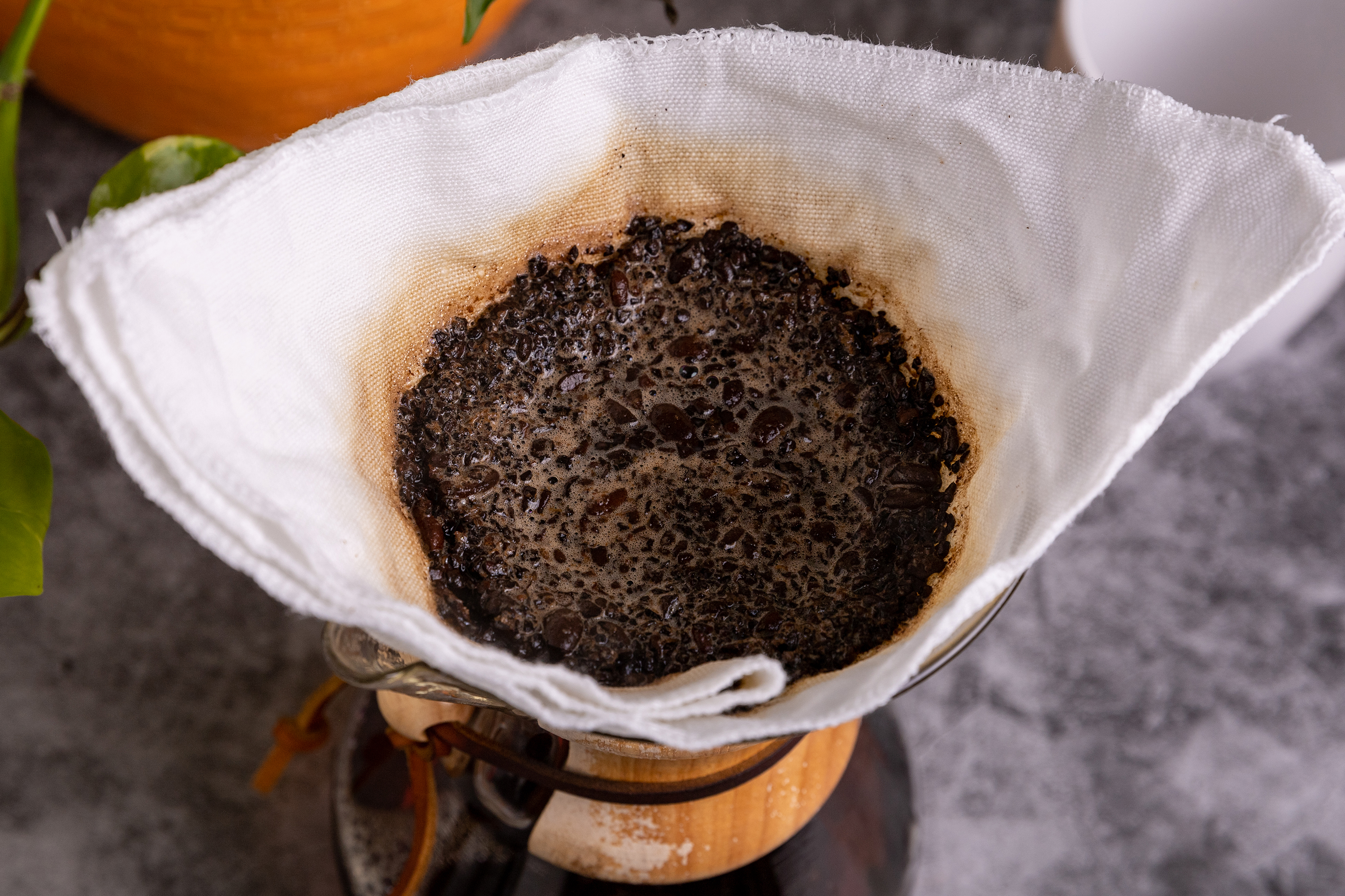 Used coffee grounds in a pour over filter.