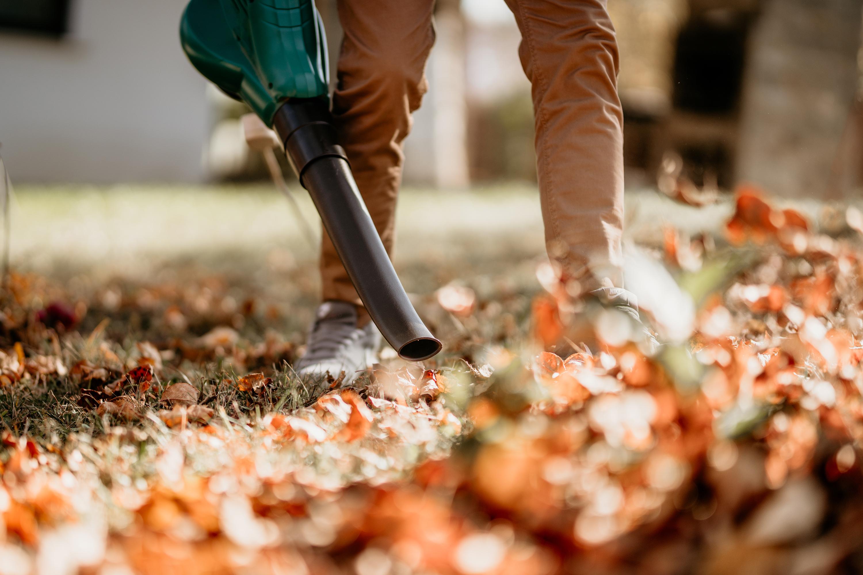 Man using leaf blower in yard.