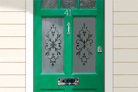 Glass etching on windows on a front door.
