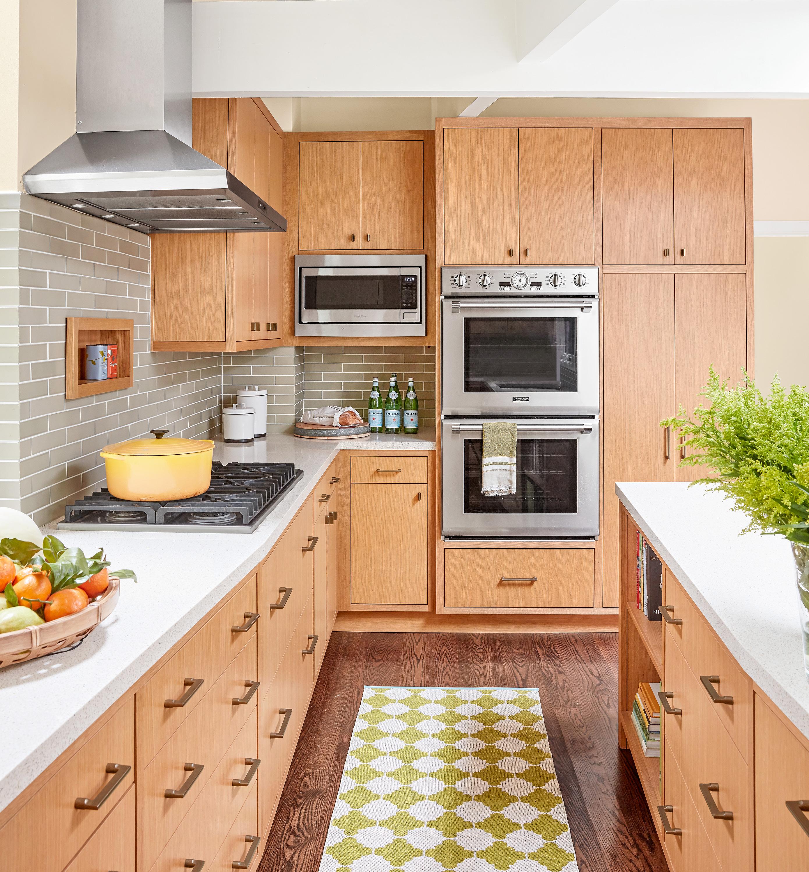 Modern and bright galley kitchen.