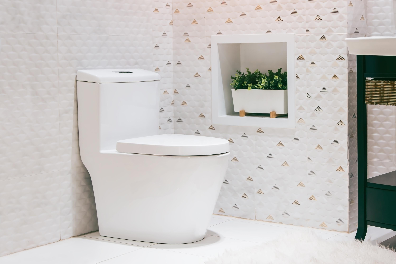 Toilet in modern bathroom.