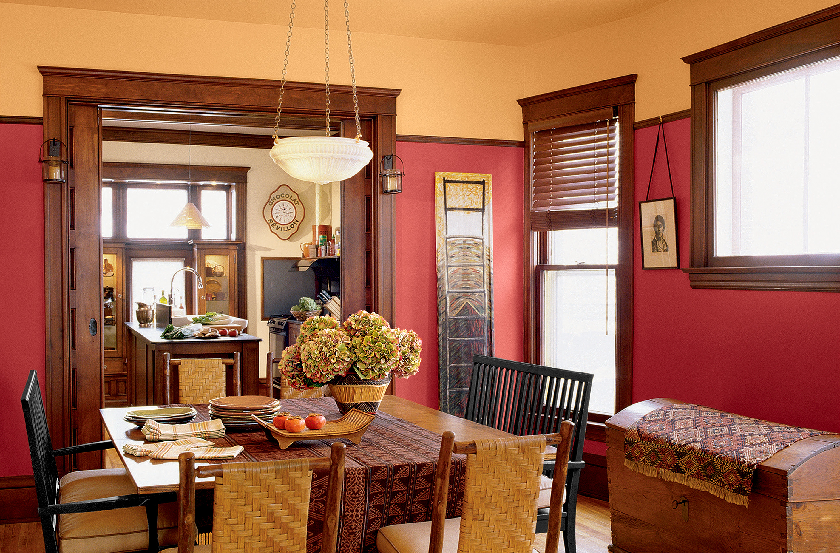 Craftsman Style Home With Red Interior