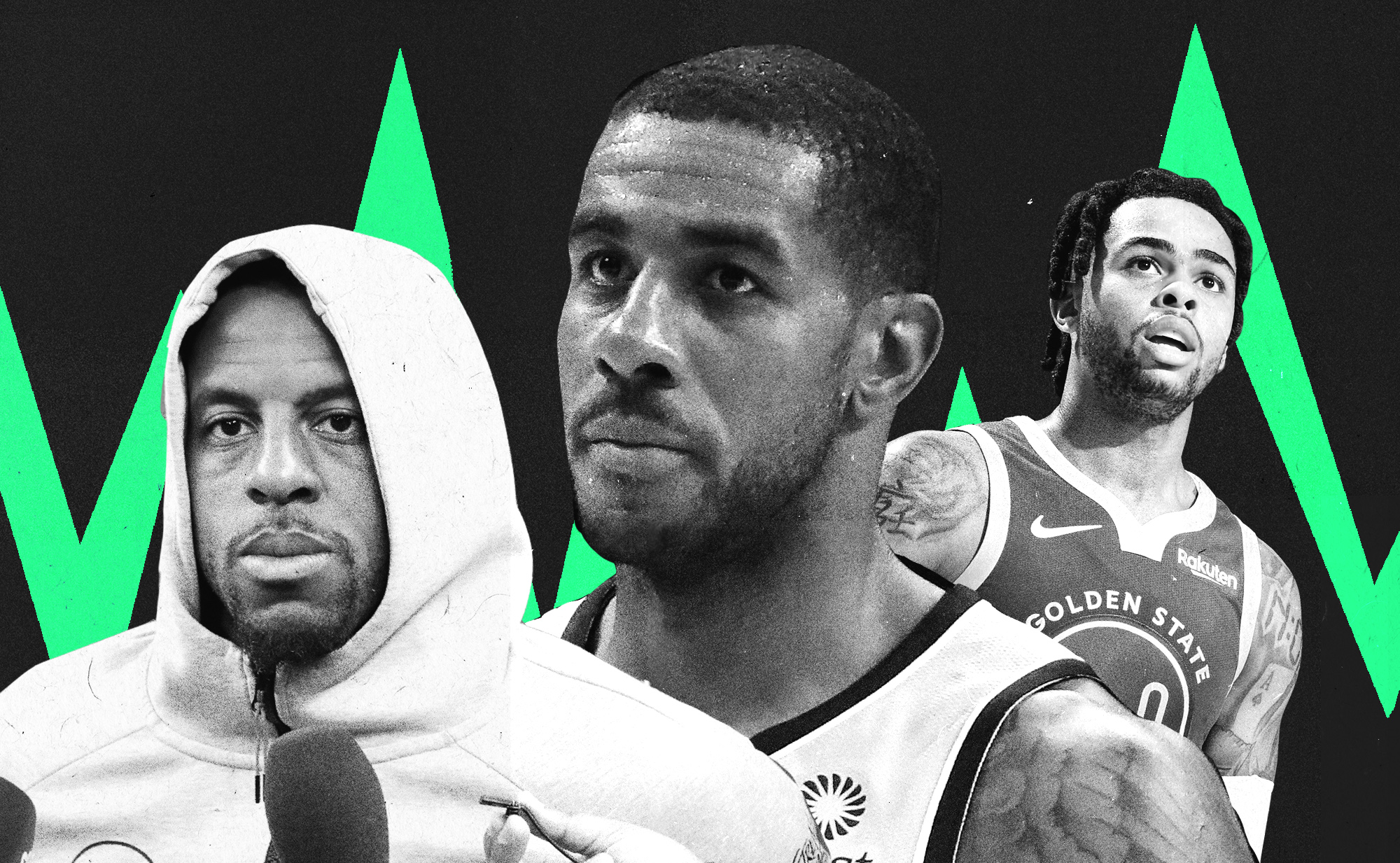A collage of Andre Iguodala, LaMarcus Aldridge, and D'Angelo Russell.
